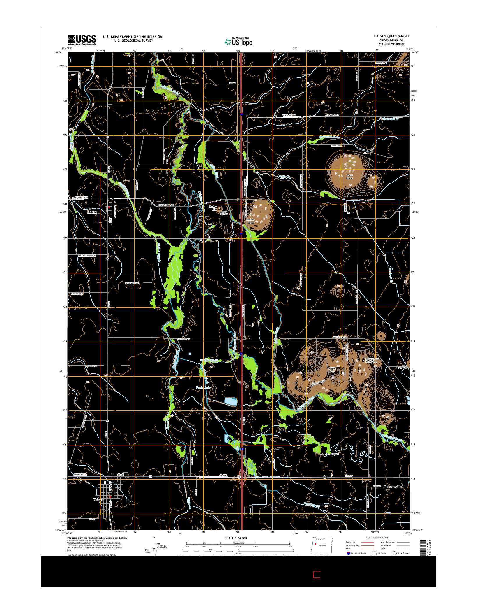 USGS US TOPO 7.5-MINUTE MAP FOR HALSEY, OR 2014