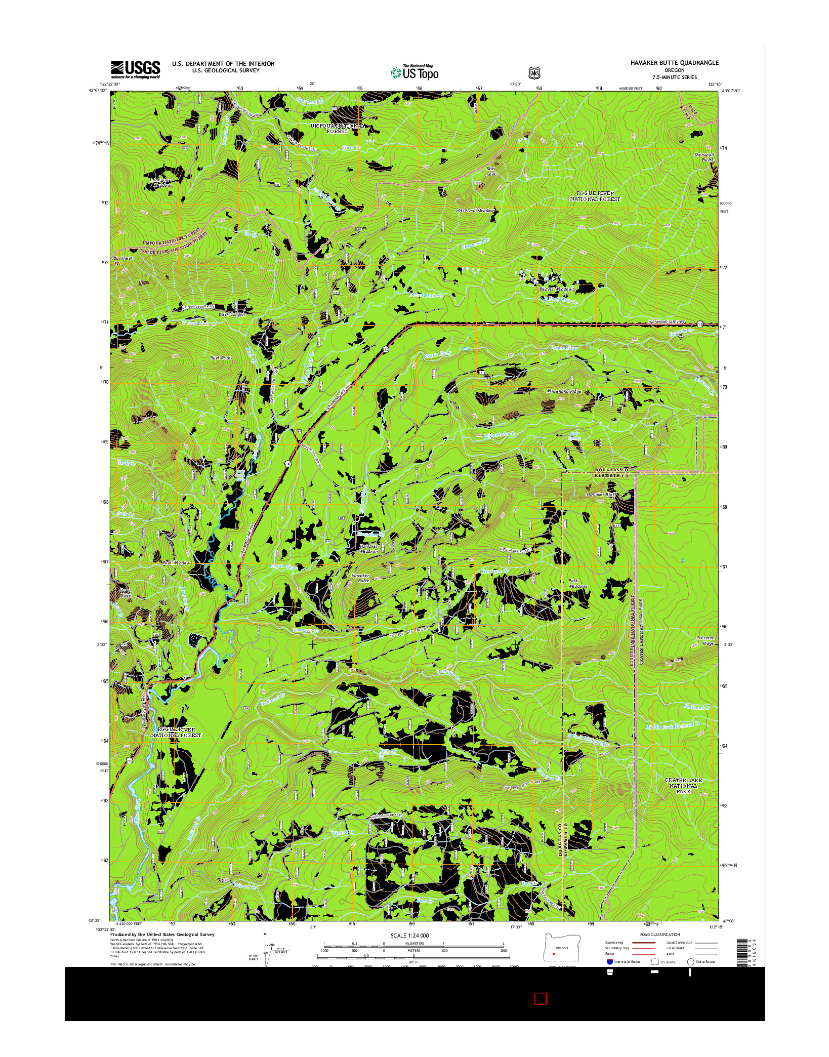 USGS US TOPO 7.5-MINUTE MAP FOR HAMAKER BUTTE, OR 2014
