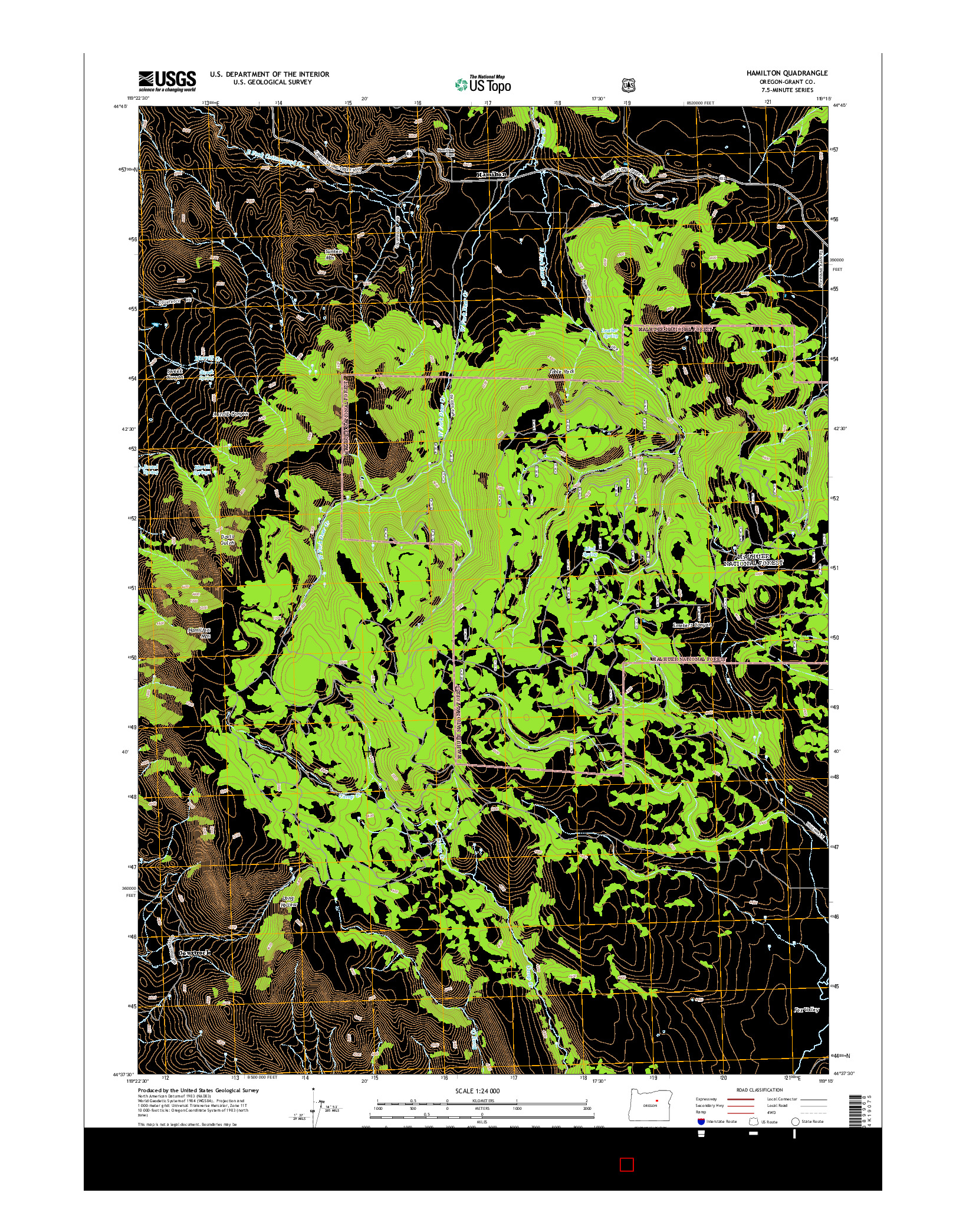 USGS US TOPO 7.5-MINUTE MAP FOR HAMILTON, OR 2014