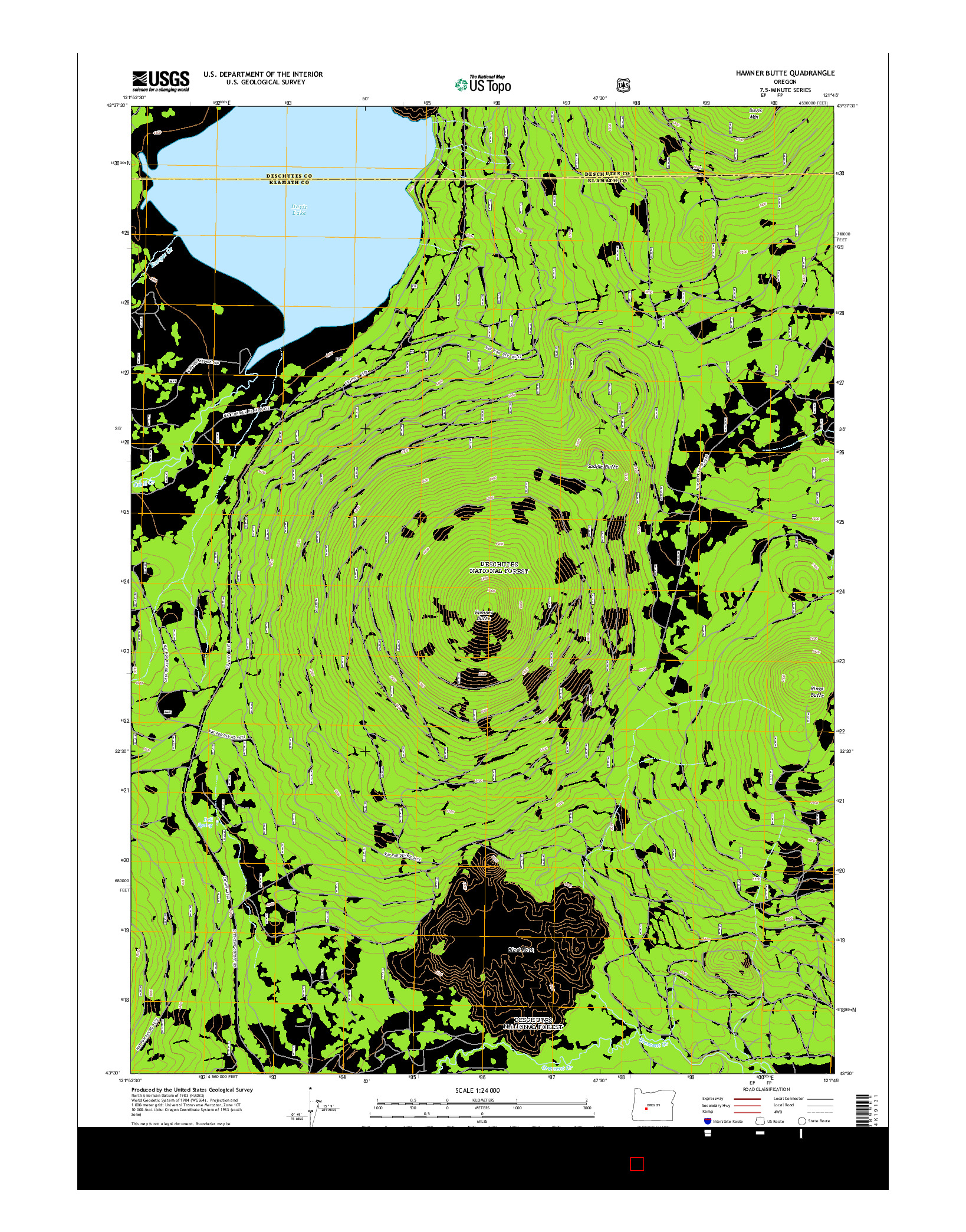 USGS US TOPO 7.5-MINUTE MAP FOR HAMNER BUTTE, OR 2014