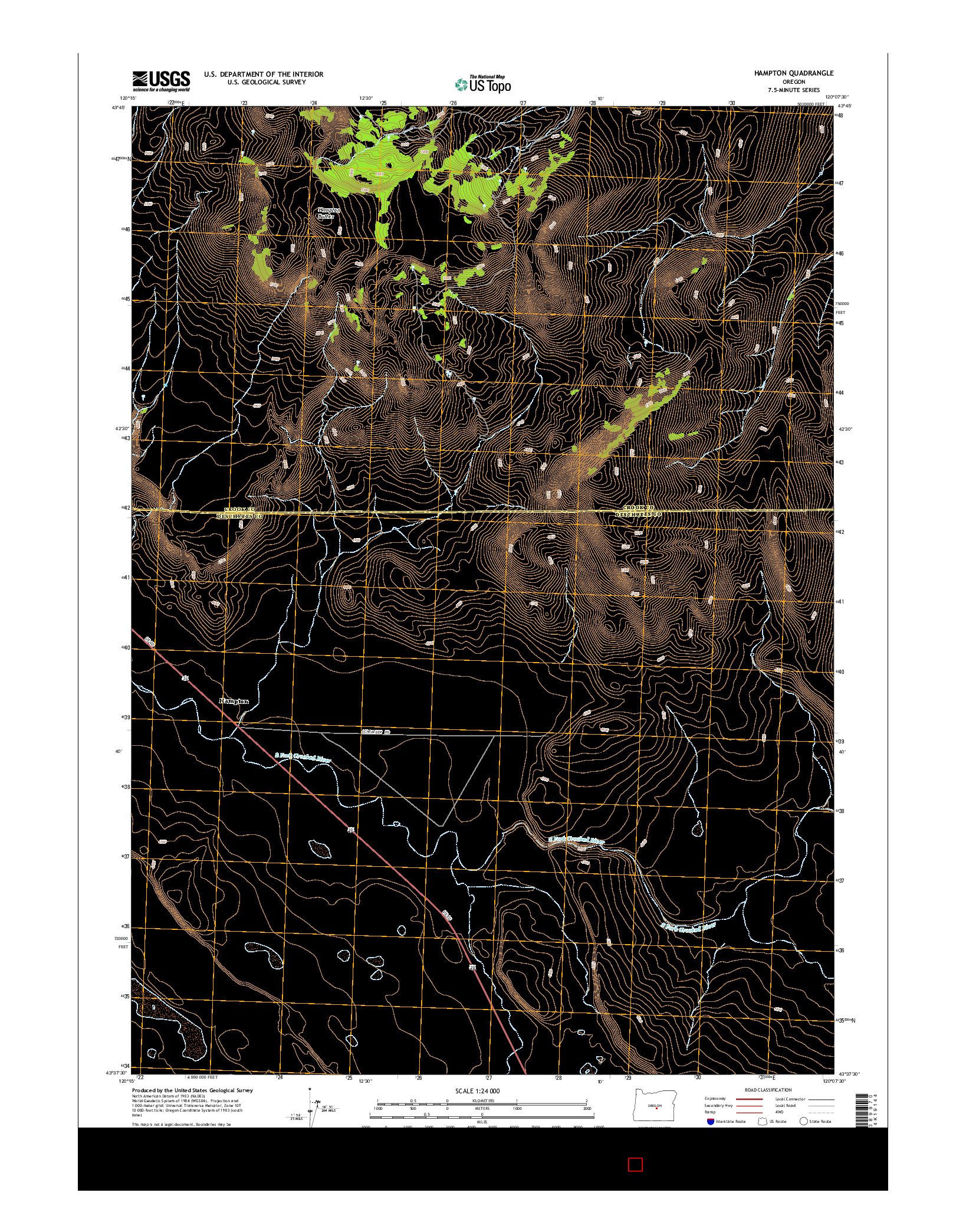 USGS US TOPO 7.5-MINUTE MAP FOR HAMPTON, OR 2014