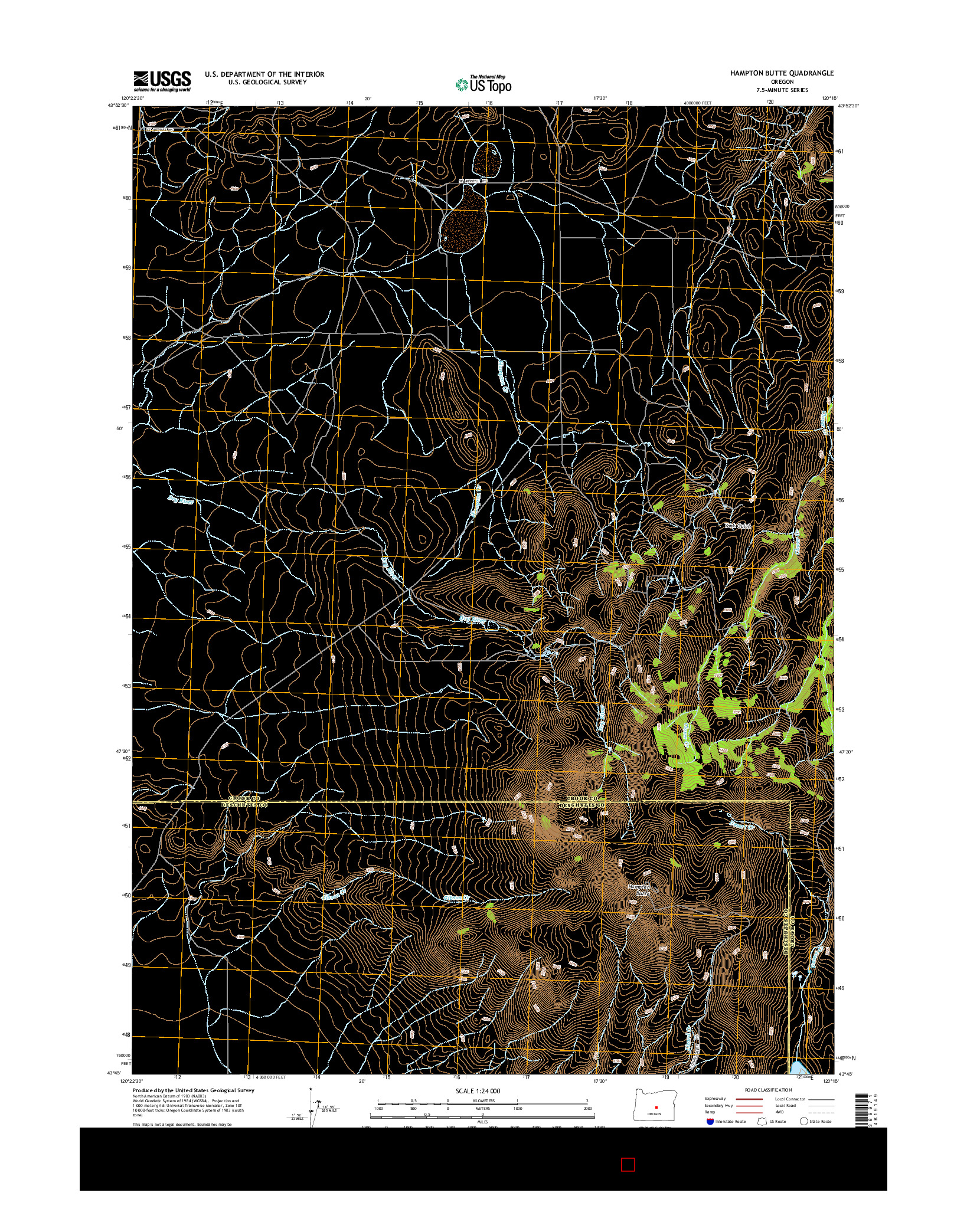 USGS US TOPO 7.5-MINUTE MAP FOR HAMPTON BUTTE, OR 2014
