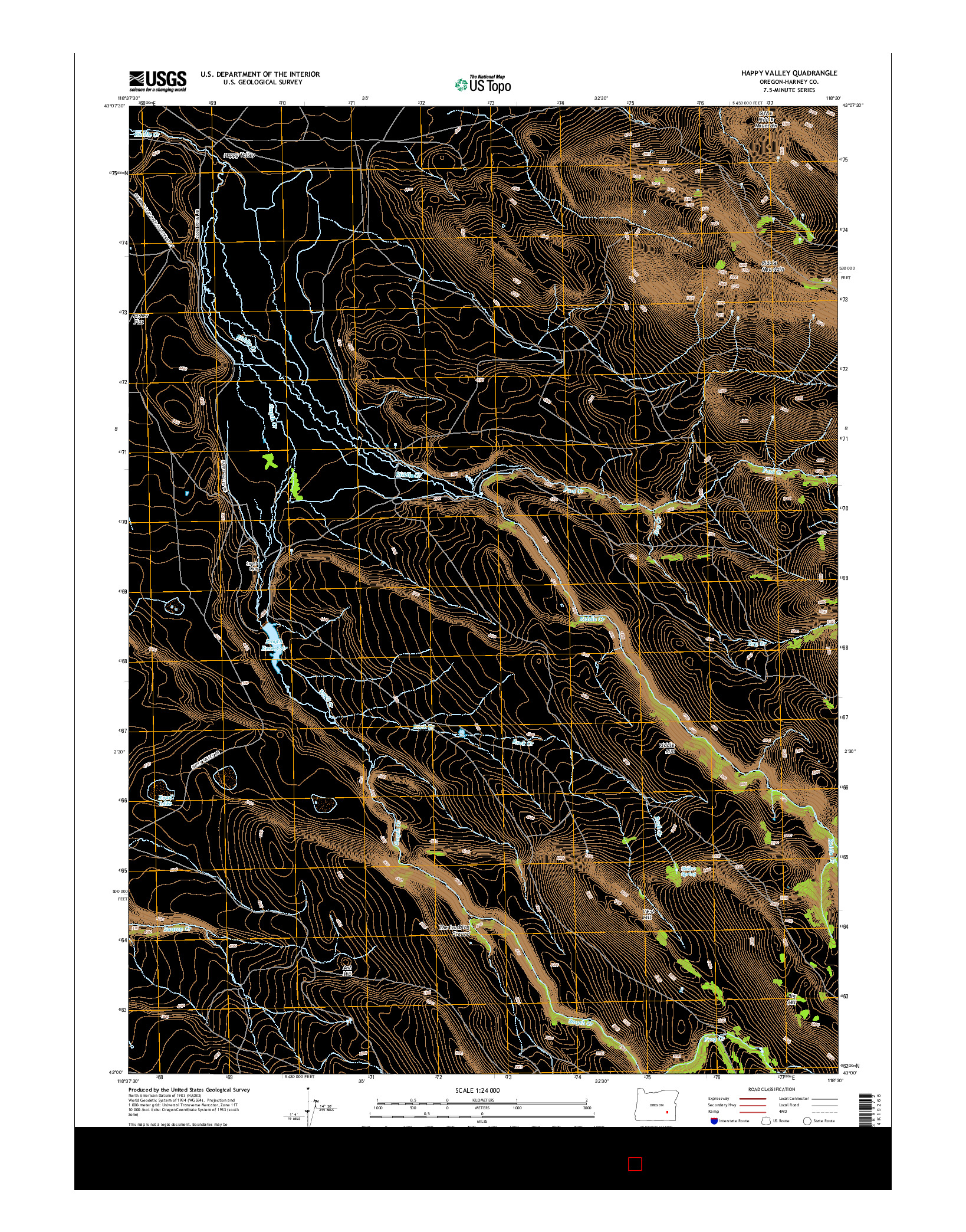 USGS US TOPO 7.5-MINUTE MAP FOR HAPPY VALLEY, OR 2014