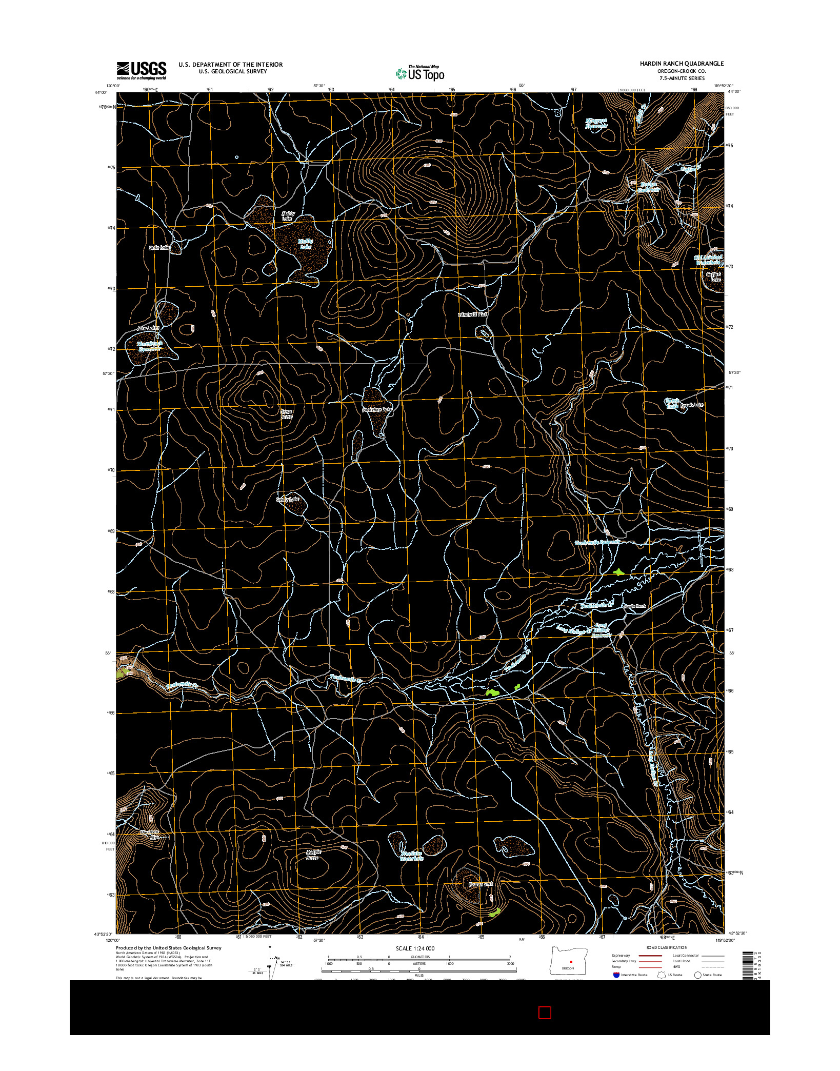 USGS US TOPO 7.5-MINUTE MAP FOR HARDIN RANCH, OR 2014