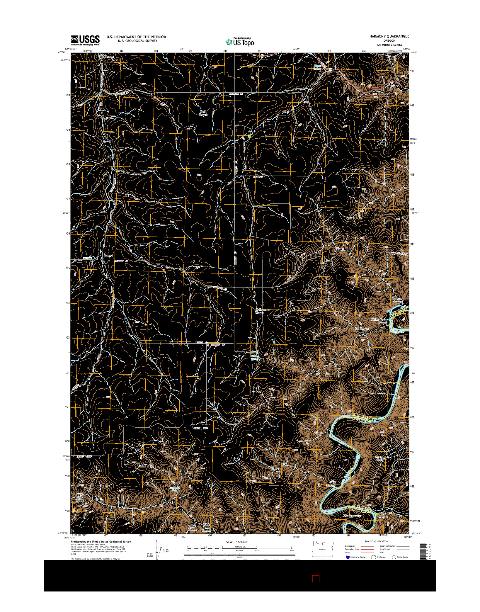 USGS US TOPO 7.5-MINUTE MAP FOR HARMONY, OR 2014