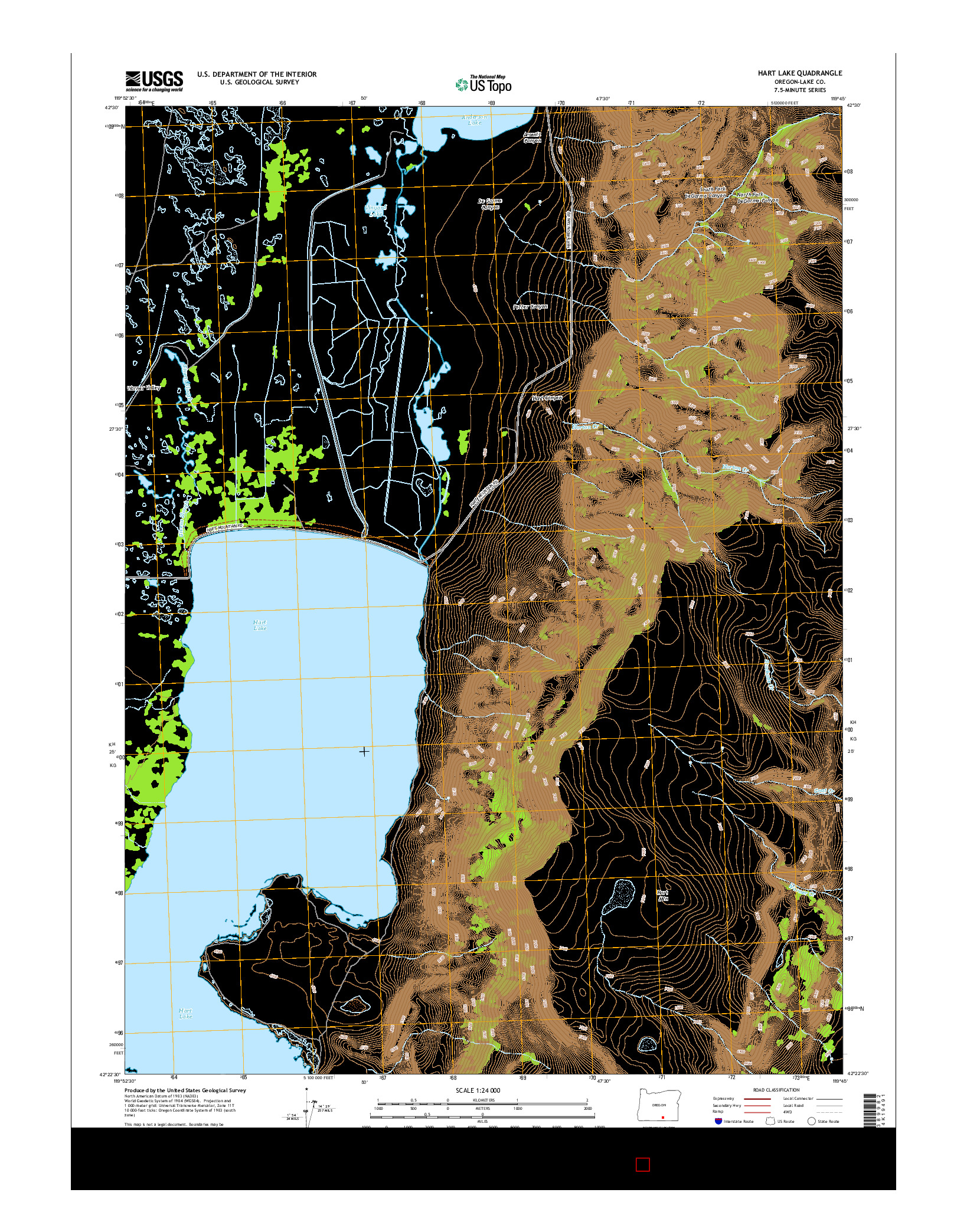 USGS US TOPO 7.5-MINUTE MAP FOR HART LAKE, OR 2014