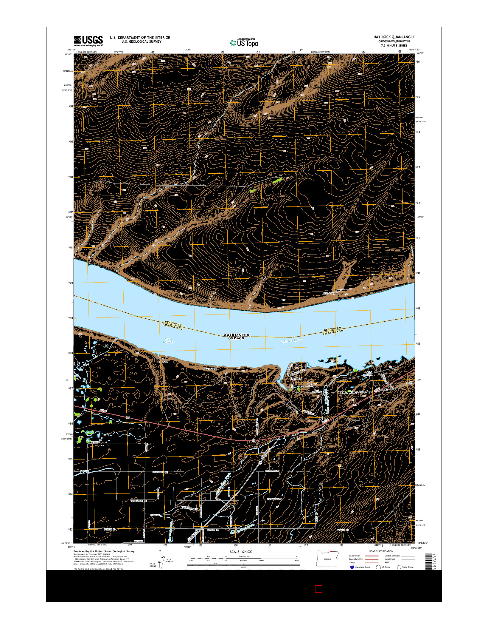 USGS US TOPO 7.5-MINUTE MAP FOR HAT ROCK, OR-WA 2014