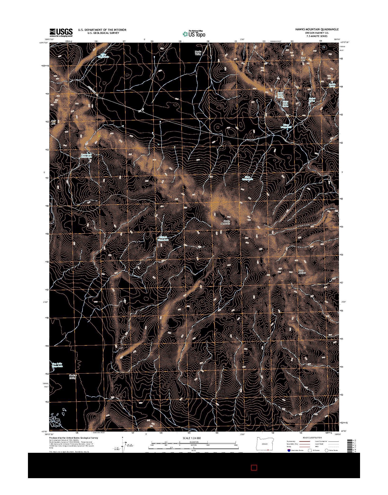 USGS US TOPO 7.5-MINUTE MAP FOR HAWKS MOUNTAIN, OR 2014