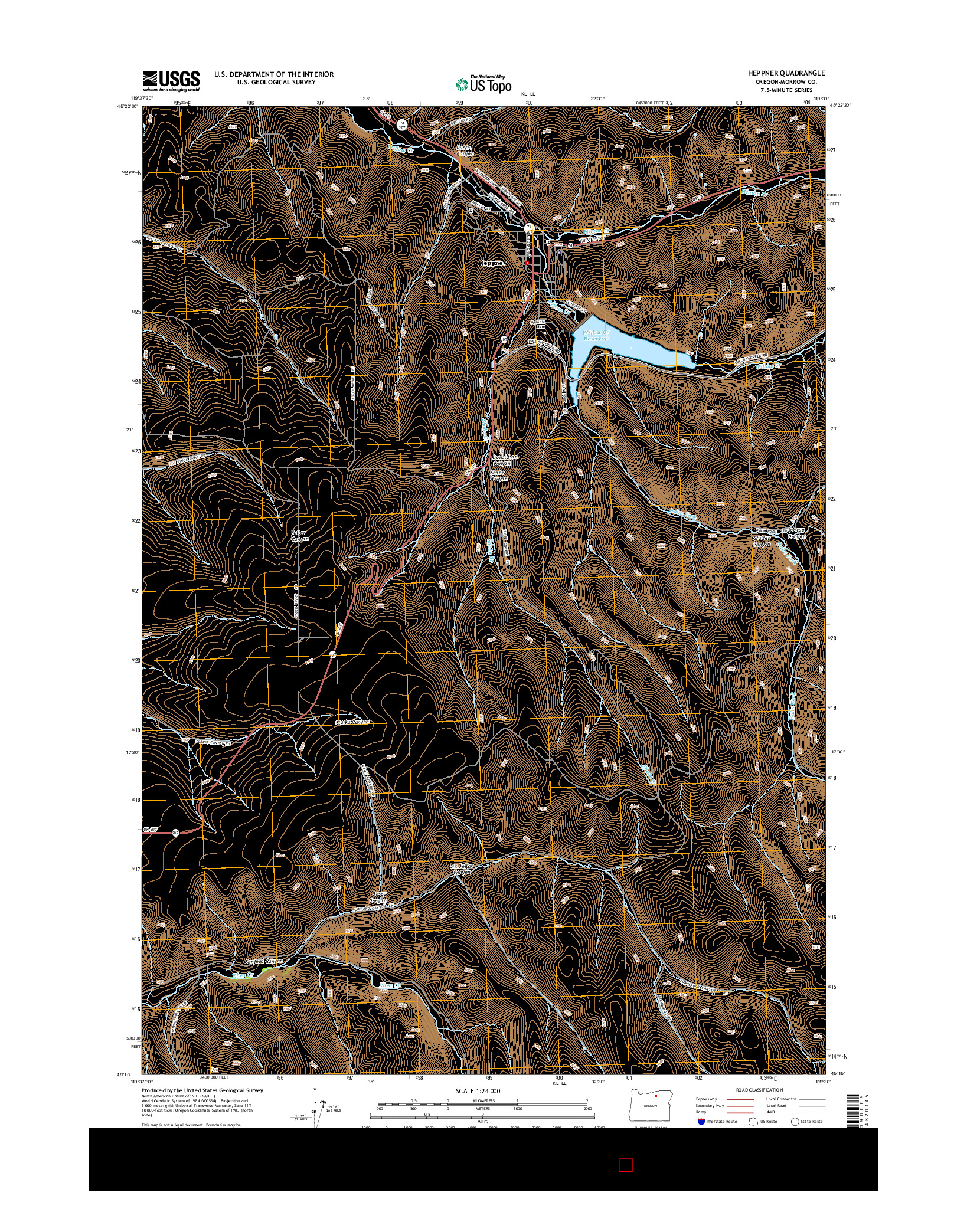 USGS US TOPO 7.5-MINUTE MAP FOR HEPPNER, OR 2014