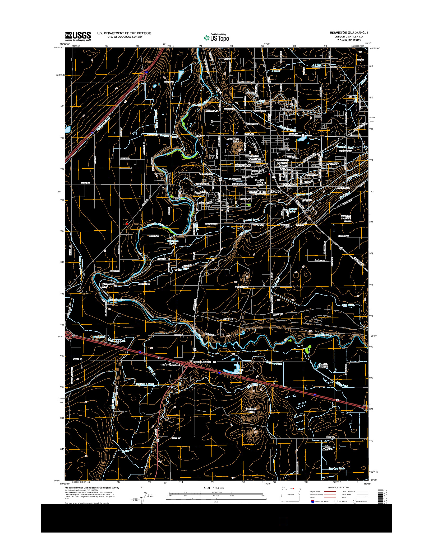USGS US TOPO 7.5-MINUTE MAP FOR HERMISTON, OR 2014