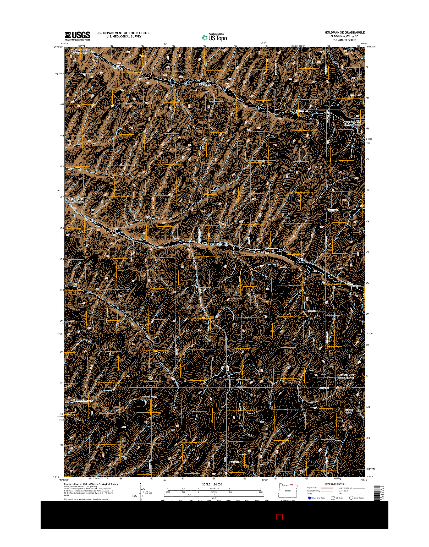 USGS US TOPO 7.5-MINUTE MAP FOR HOLDMAN SE, OR 2014