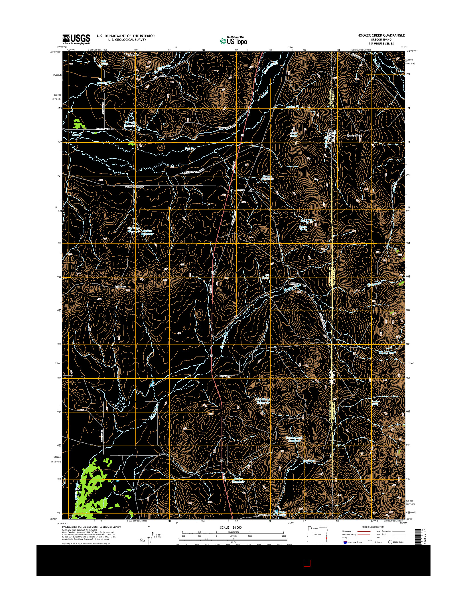 USGS US TOPO 7.5-MINUTE MAP FOR HOOKER CREEK, OR-ID 2014