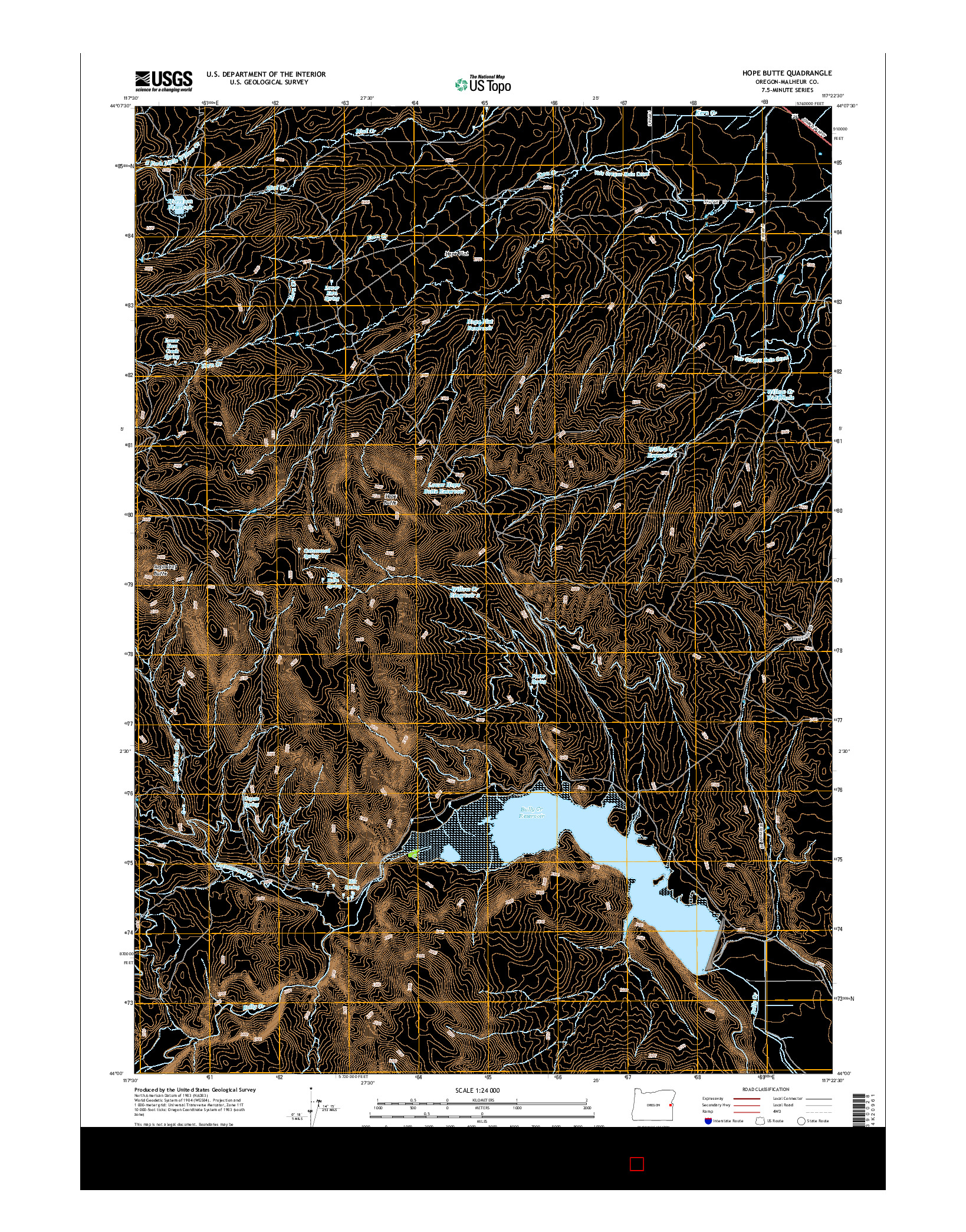 USGS US TOPO 7.5-MINUTE MAP FOR HOPE BUTTE, OR 2014