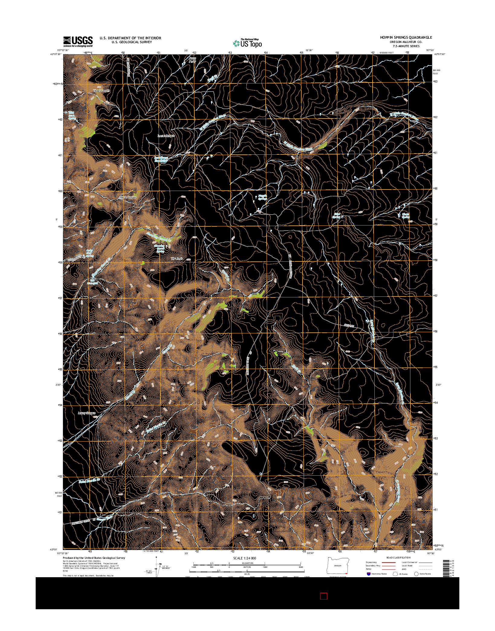 USGS US TOPO 7.5-MINUTE MAP FOR HOPPIN SPRINGS, OR 2014