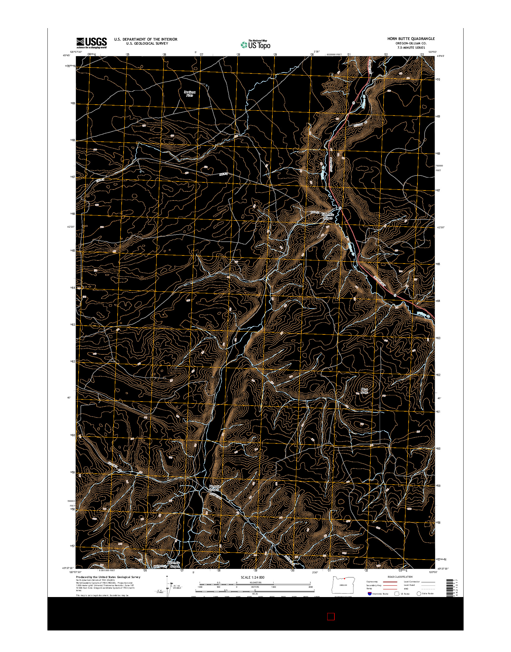 USGS US TOPO 7.5-MINUTE MAP FOR HORN BUTTE, OR 2014