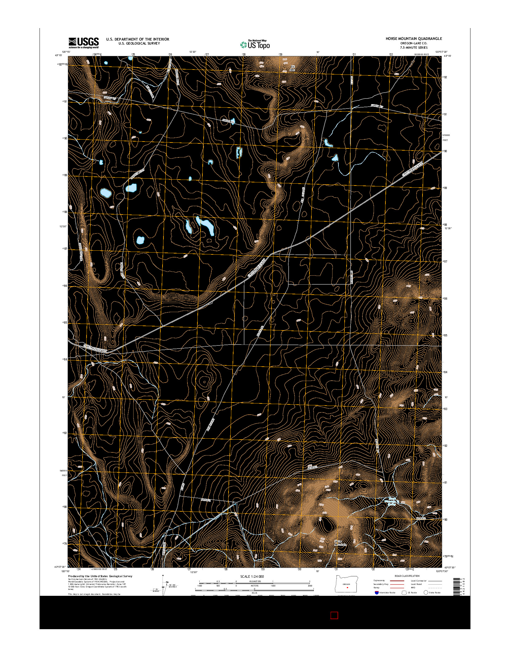 USGS US TOPO 7.5-MINUTE MAP FOR HORSE MOUNTAIN, OR 2014
