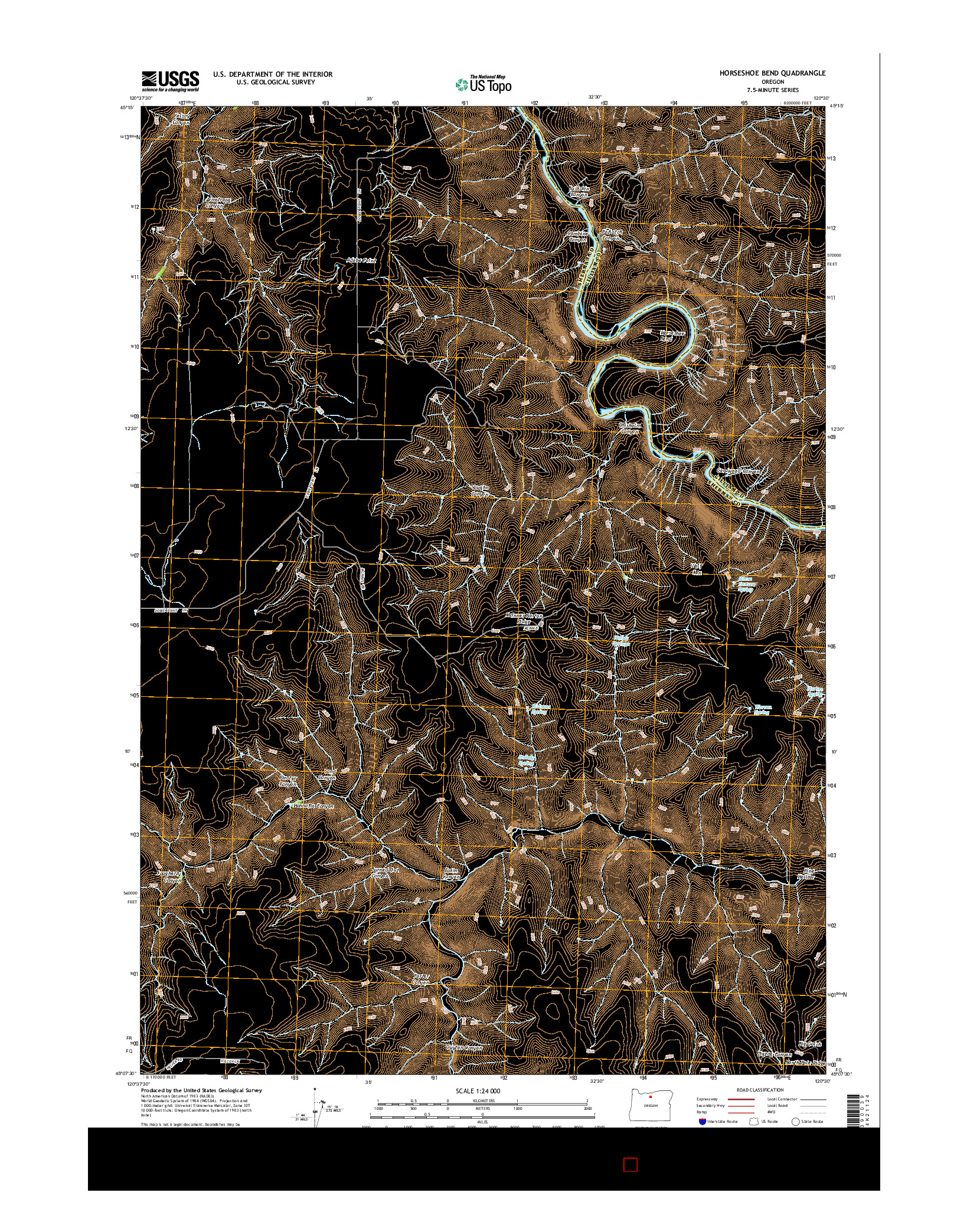 USGS US TOPO 7.5-MINUTE MAP FOR HORSESHOE BEND, OR 2014