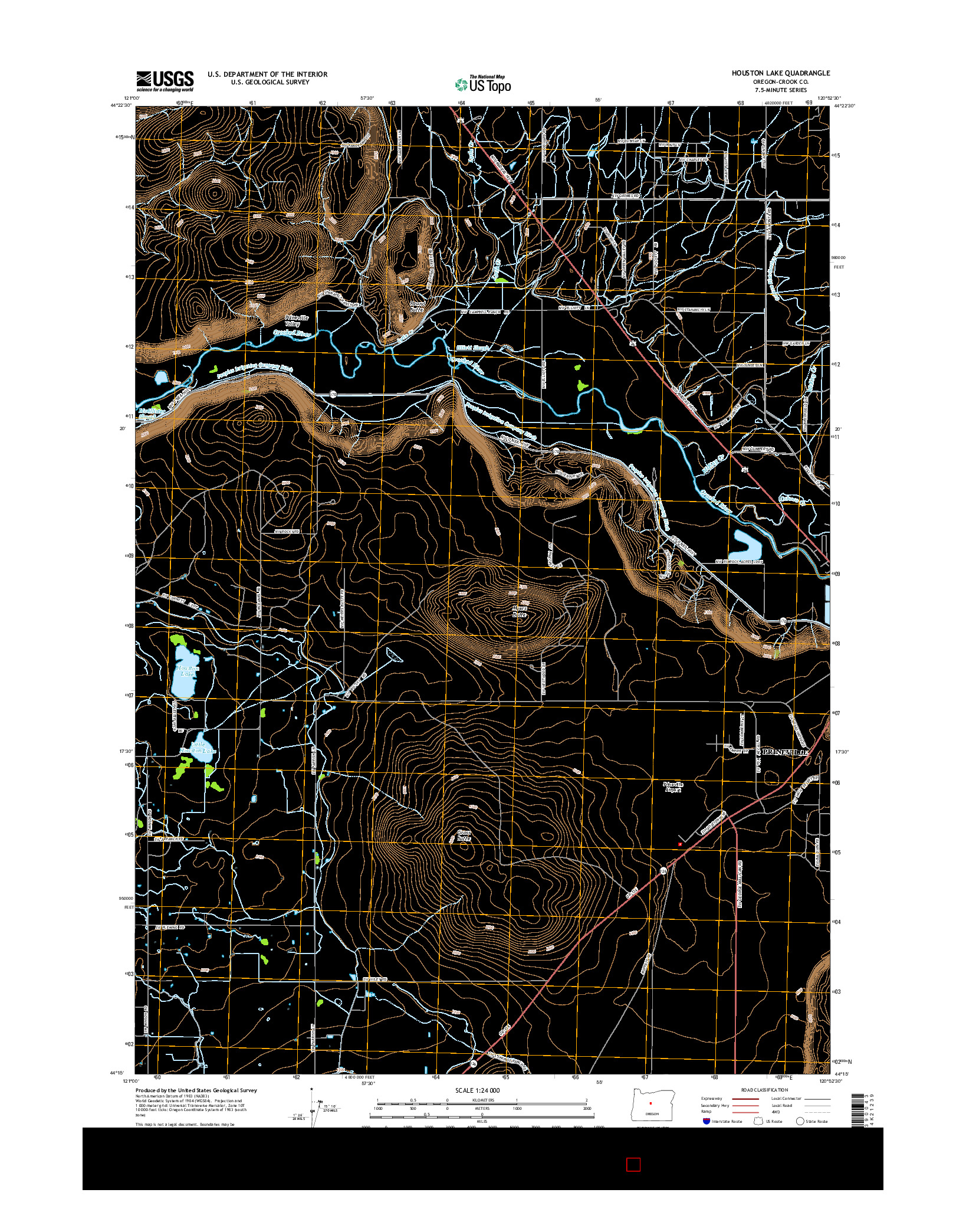 USGS US TOPO 7.5-MINUTE MAP FOR HOUSTON LAKE, OR 2014