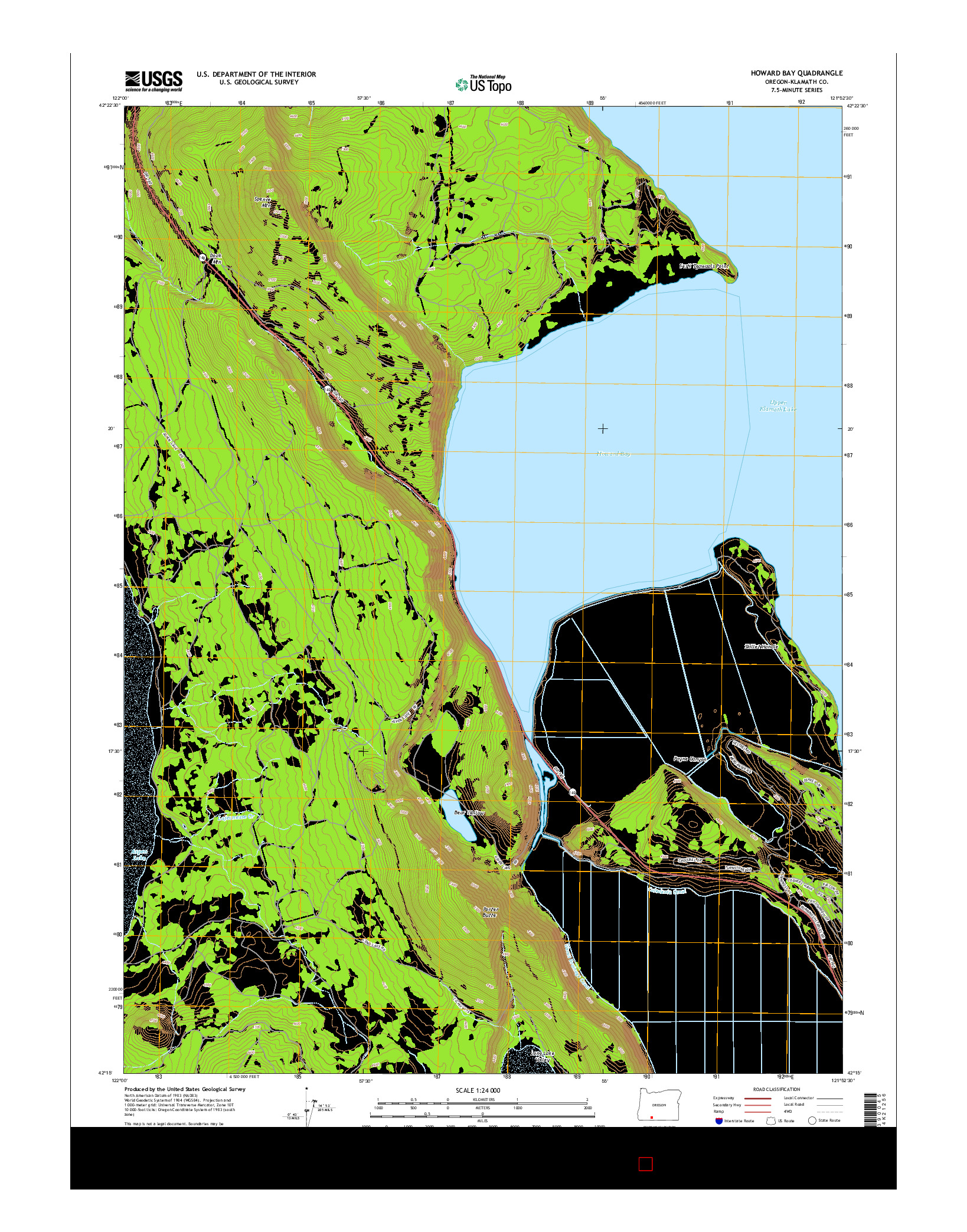 USGS US TOPO 7.5-MINUTE MAP FOR HOWARD BAY, OR 2014