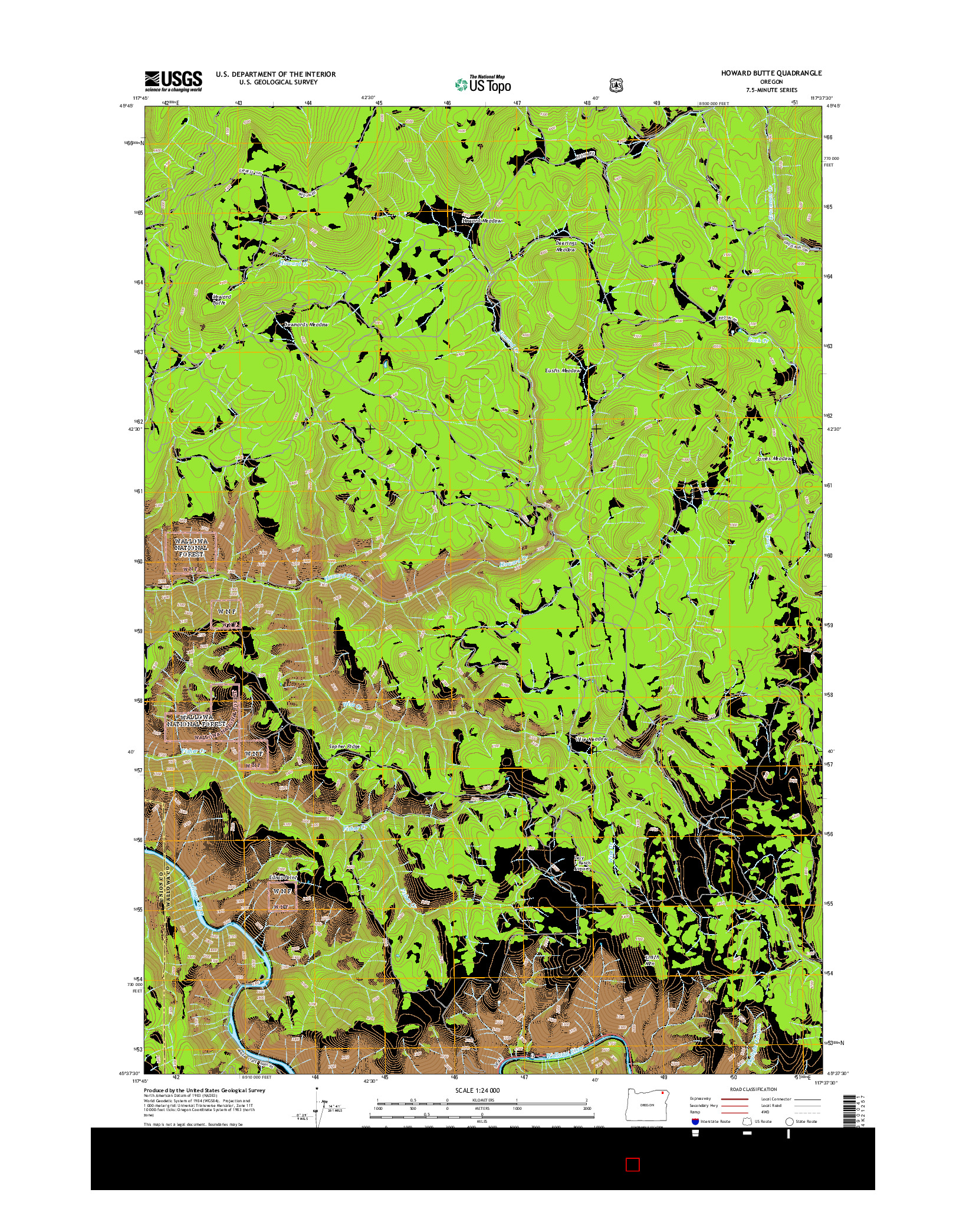 USGS US TOPO 7.5-MINUTE MAP FOR HOWARD BUTTE, OR 2014