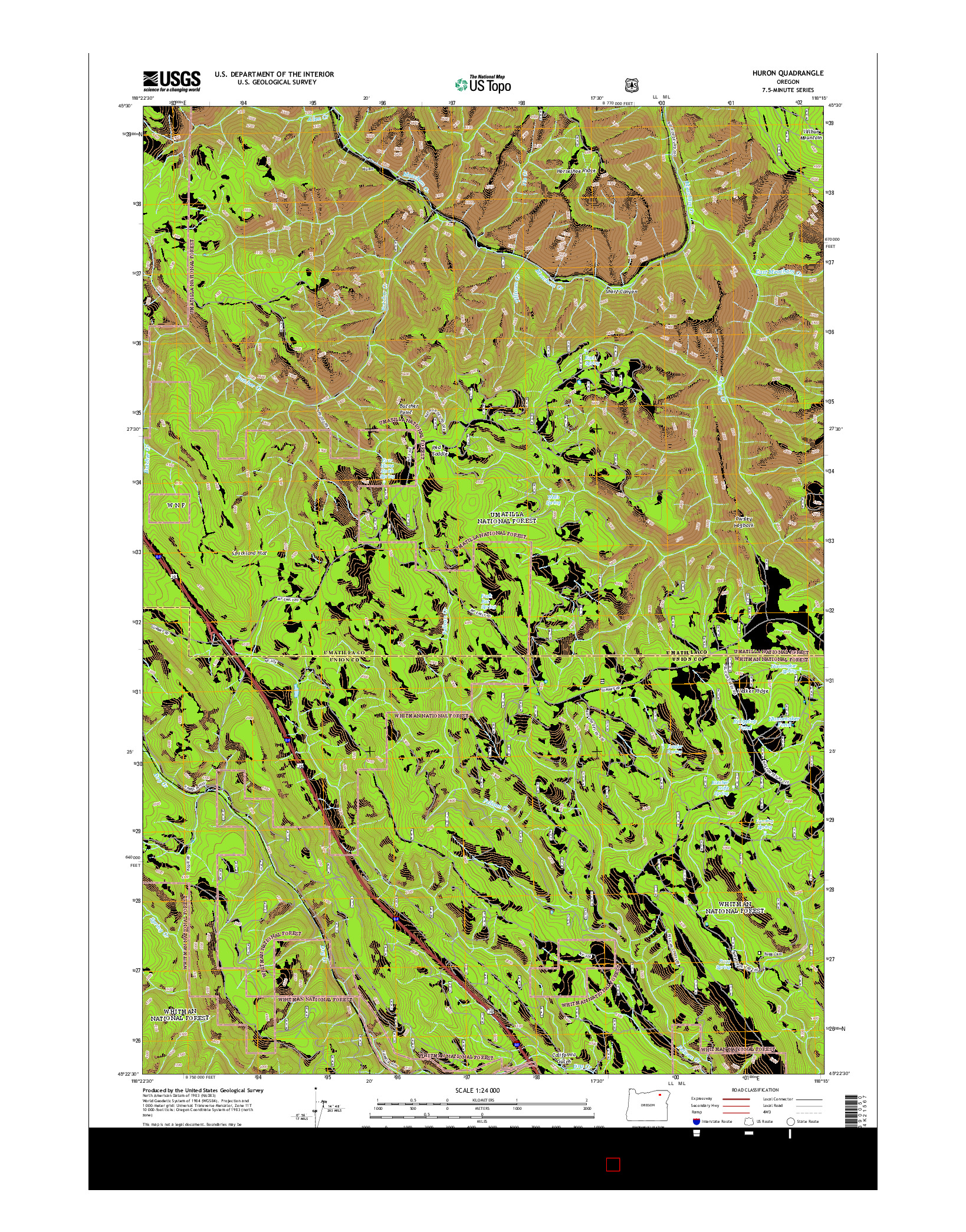 USGS US TOPO 7.5-MINUTE MAP FOR HURON, OR 2014