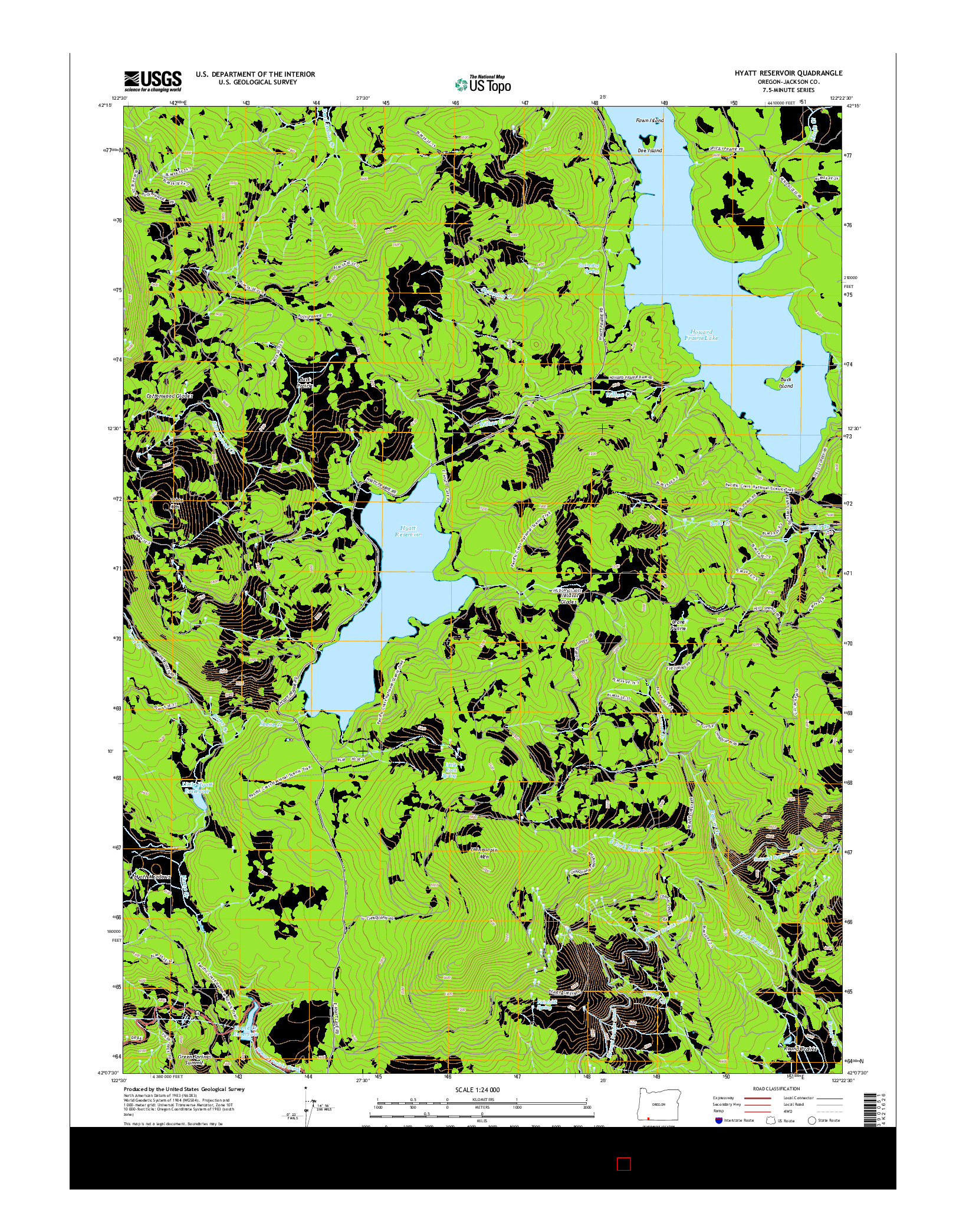 USGS US TOPO 7.5-MINUTE MAP FOR HYATT RESERVOIR, OR 2014