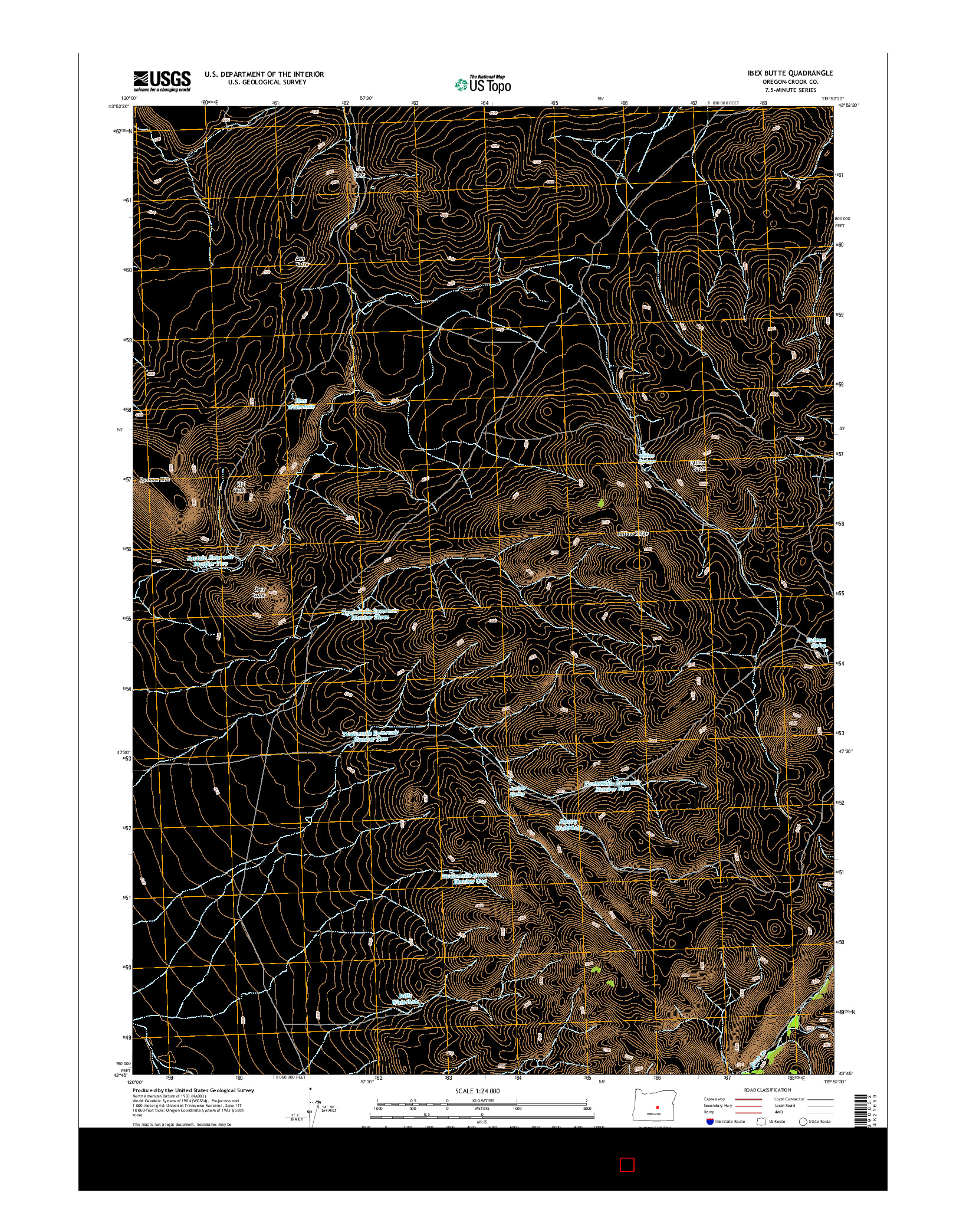 USGS US TOPO 7.5-MINUTE MAP FOR IBEX BUTTE, OR 2014