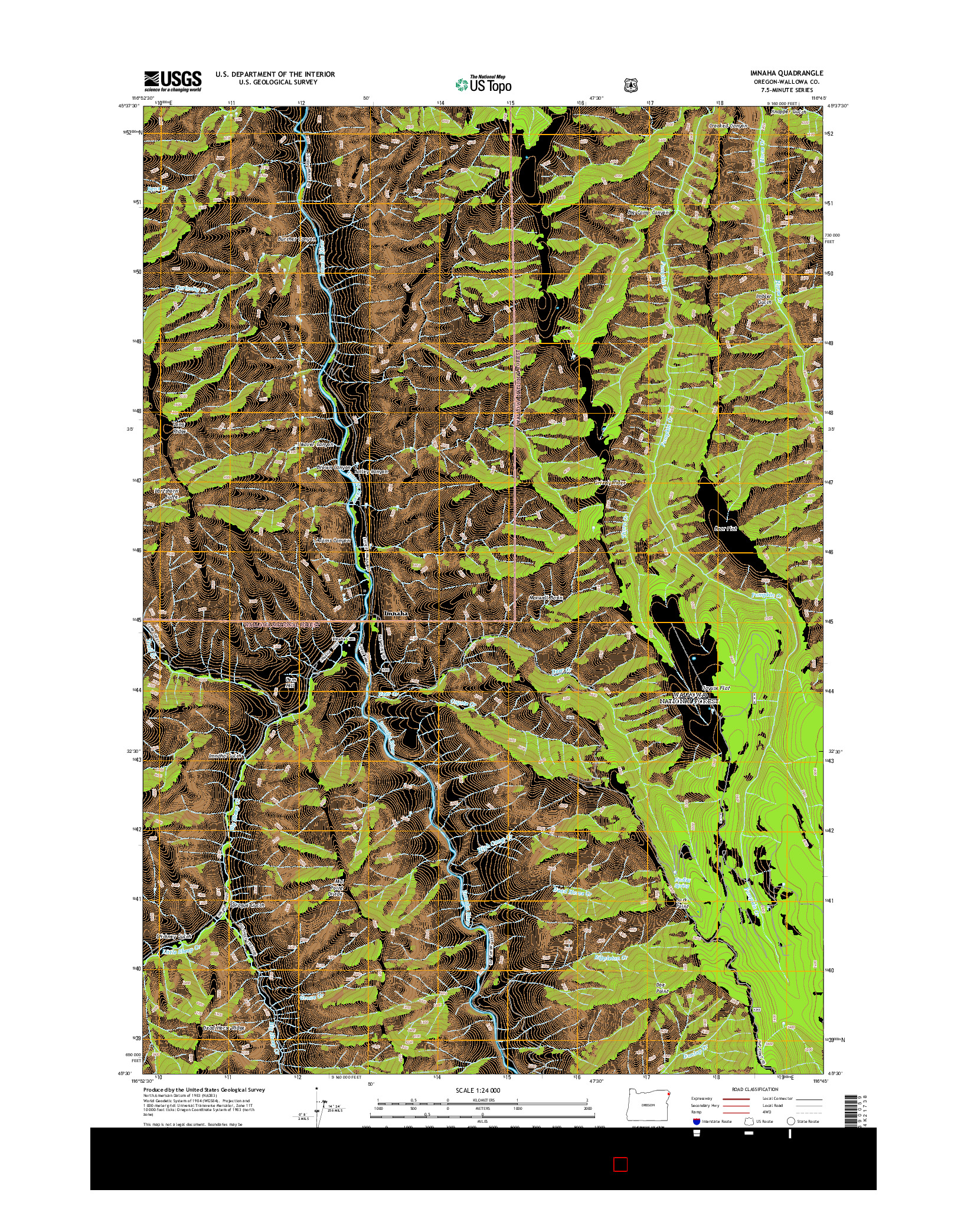 USGS US TOPO 7.5-MINUTE MAP FOR IMNAHA, OR 2014