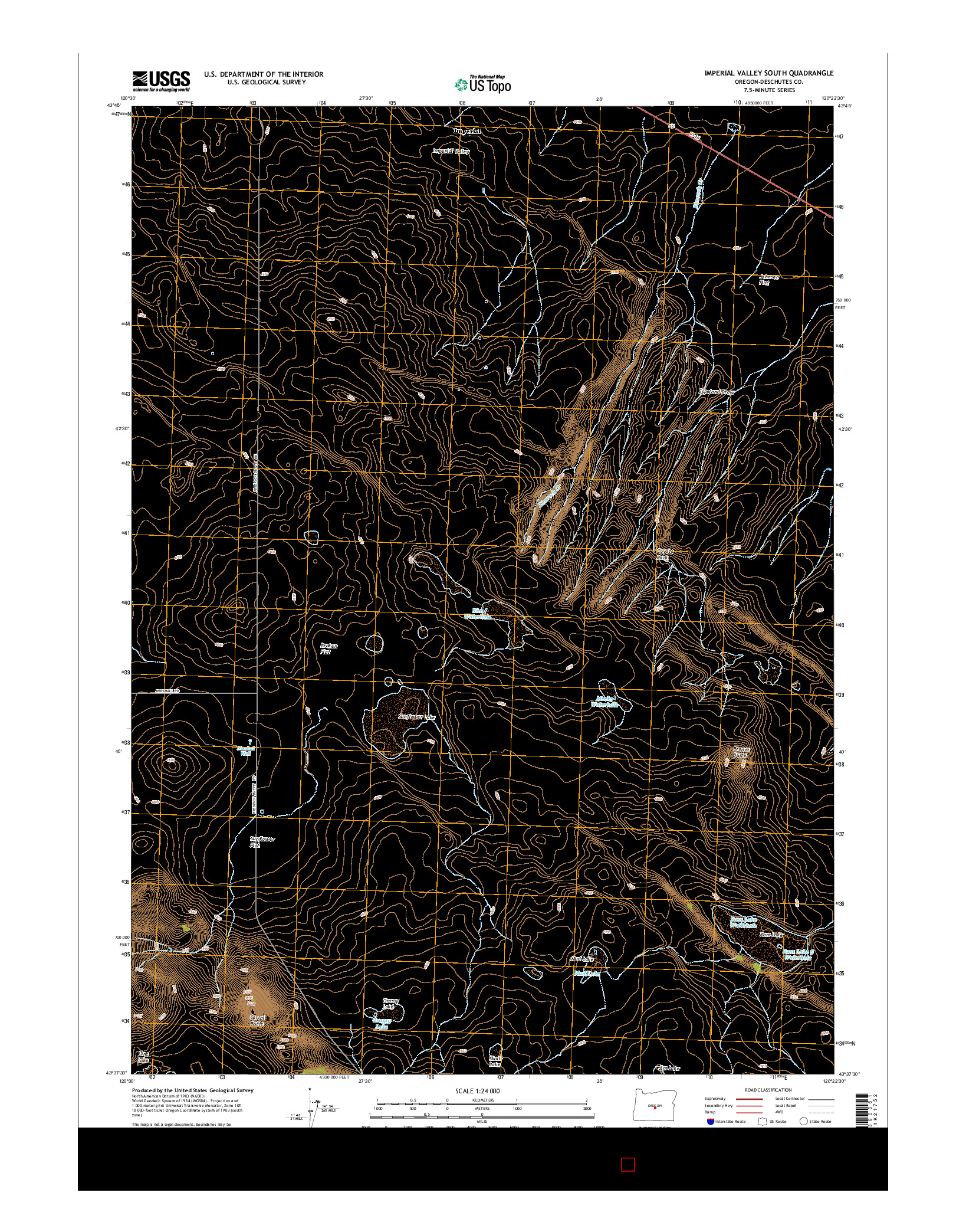 USGS US TOPO 7.5-MINUTE MAP FOR IMPERIAL VALLEY SOUTH, OR 2014
