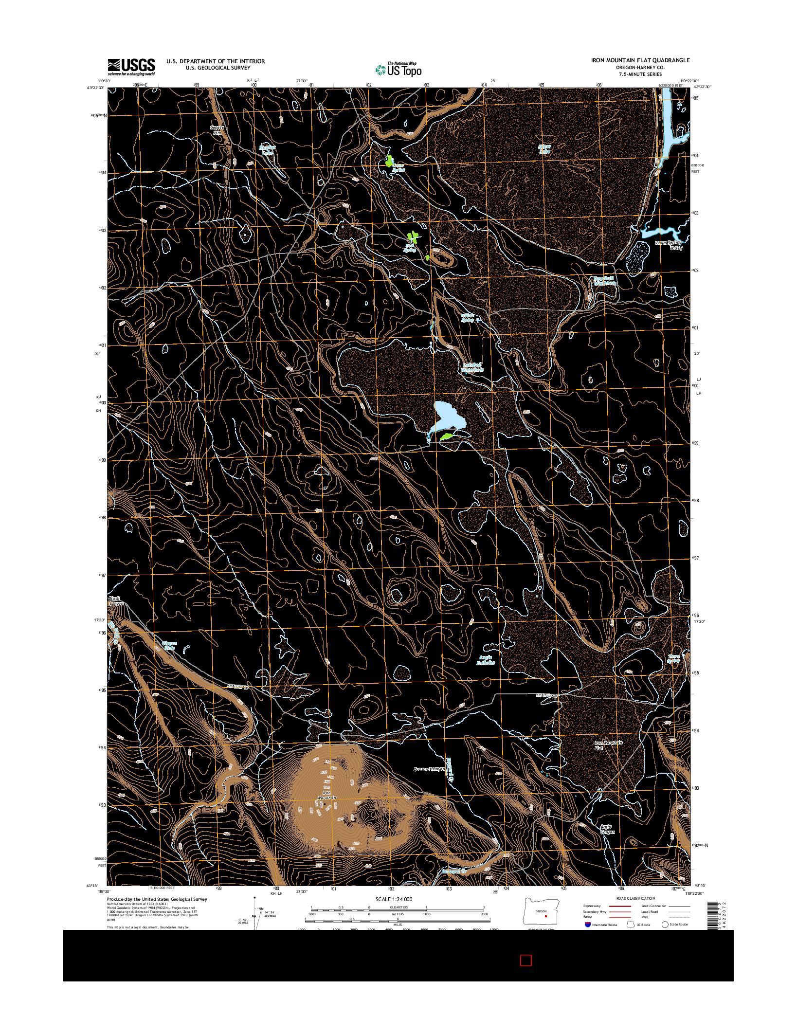 USGS US TOPO 7.5-MINUTE MAP FOR IRON MOUNTAIN FLAT, OR 2014