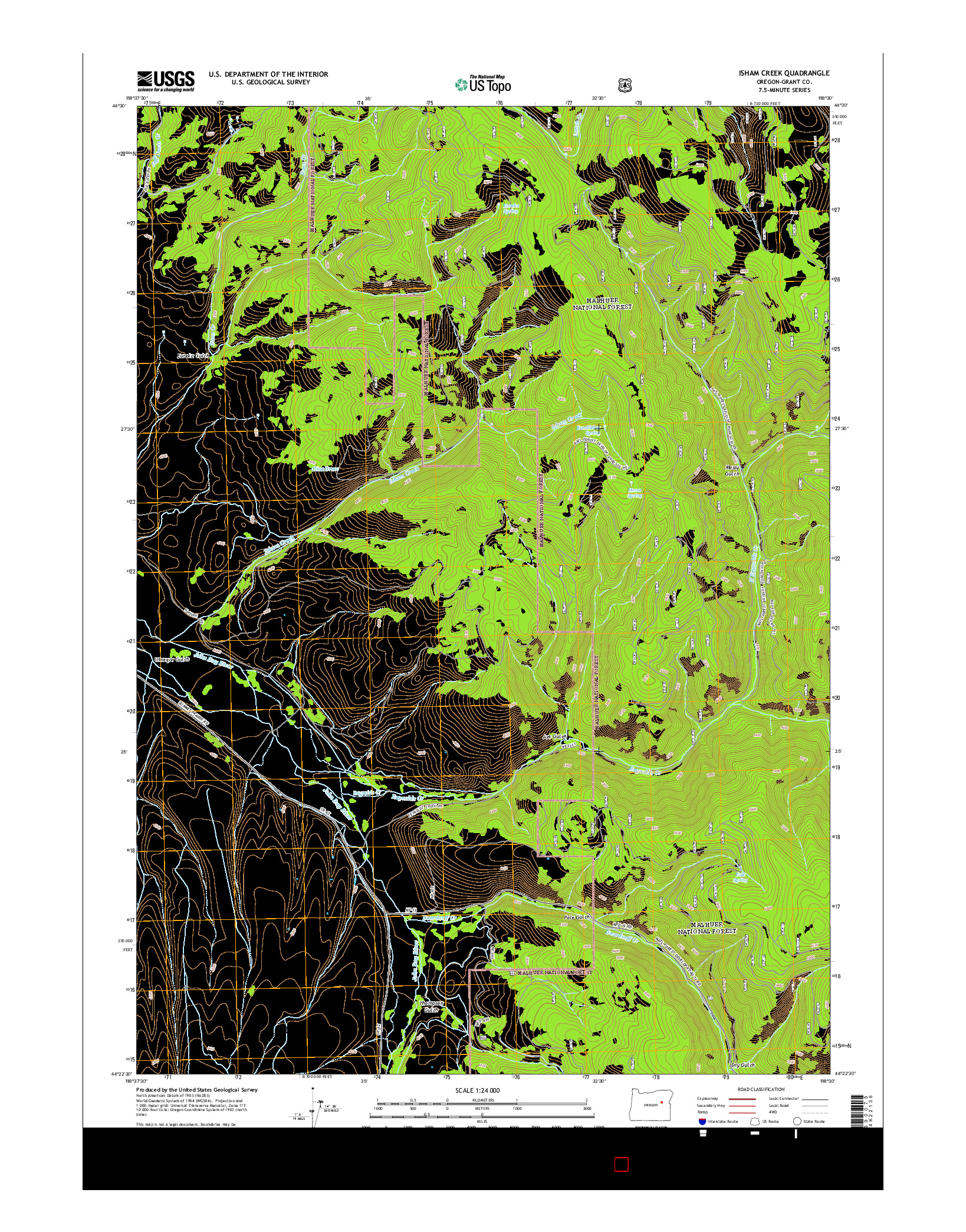 USGS US TOPO 7.5-MINUTE MAP FOR ISHAM CREEK, OR 2014