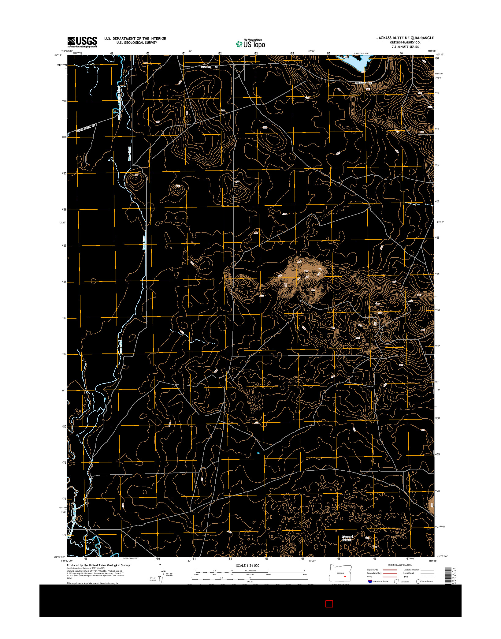 USGS US TOPO 7.5-MINUTE MAP FOR JACKASS BUTTE NE, OR 2014