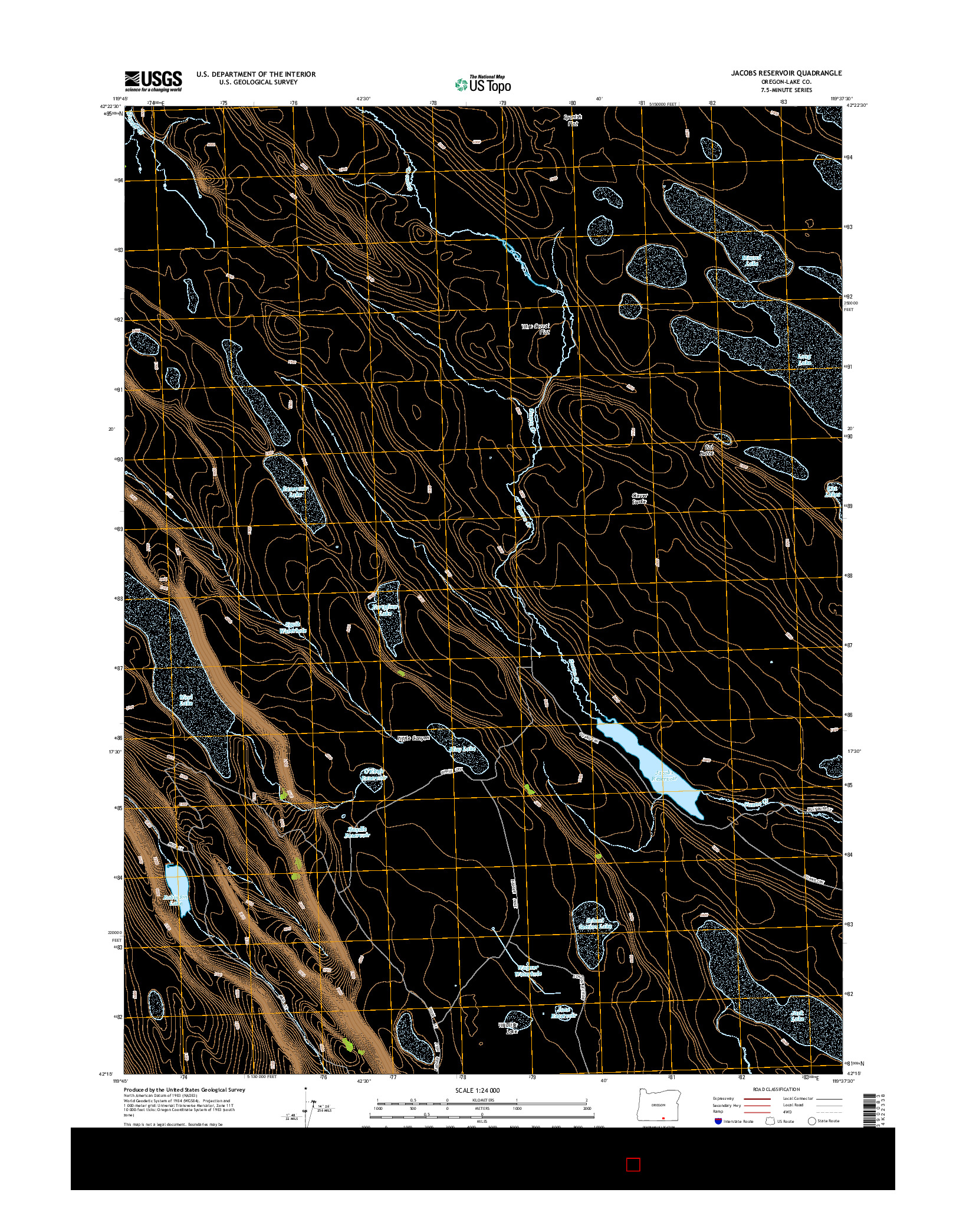 USGS US TOPO 7.5-MINUTE MAP FOR JACOBS RESERVOIR, OR 2014