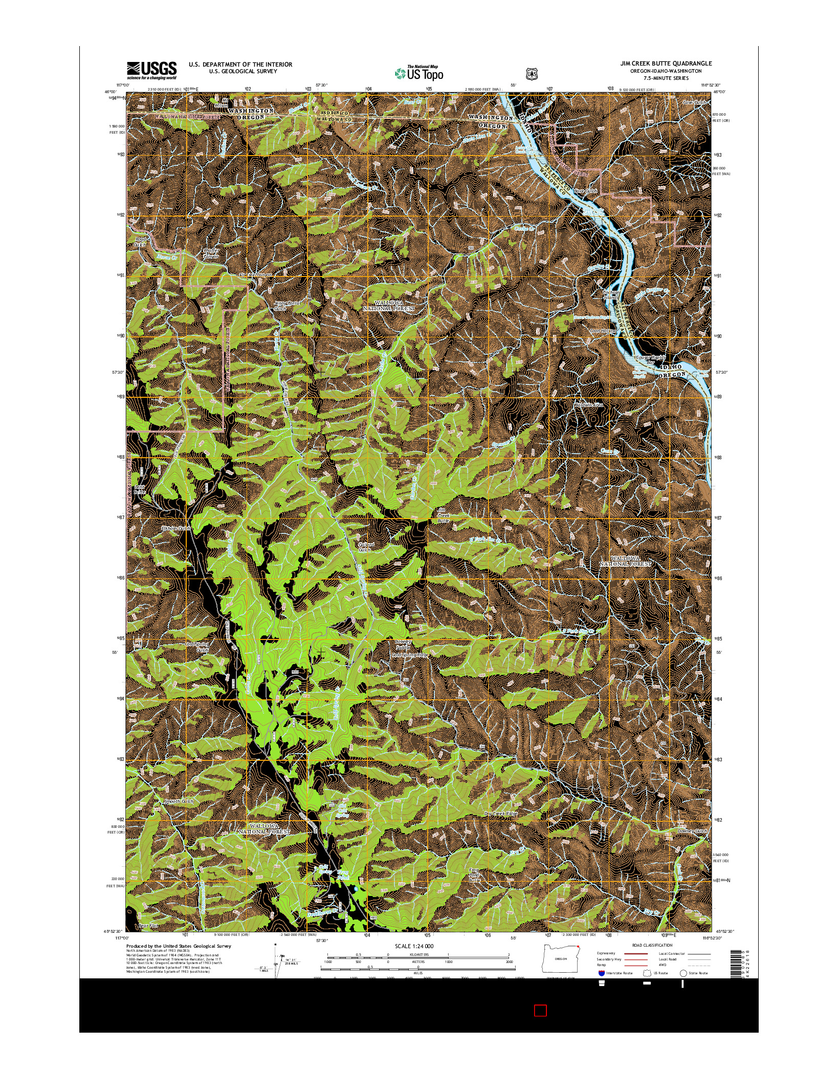 USGS US TOPO 7.5-MINUTE MAP FOR JIM CREEK BUTTE, OR-ID-WA 2014