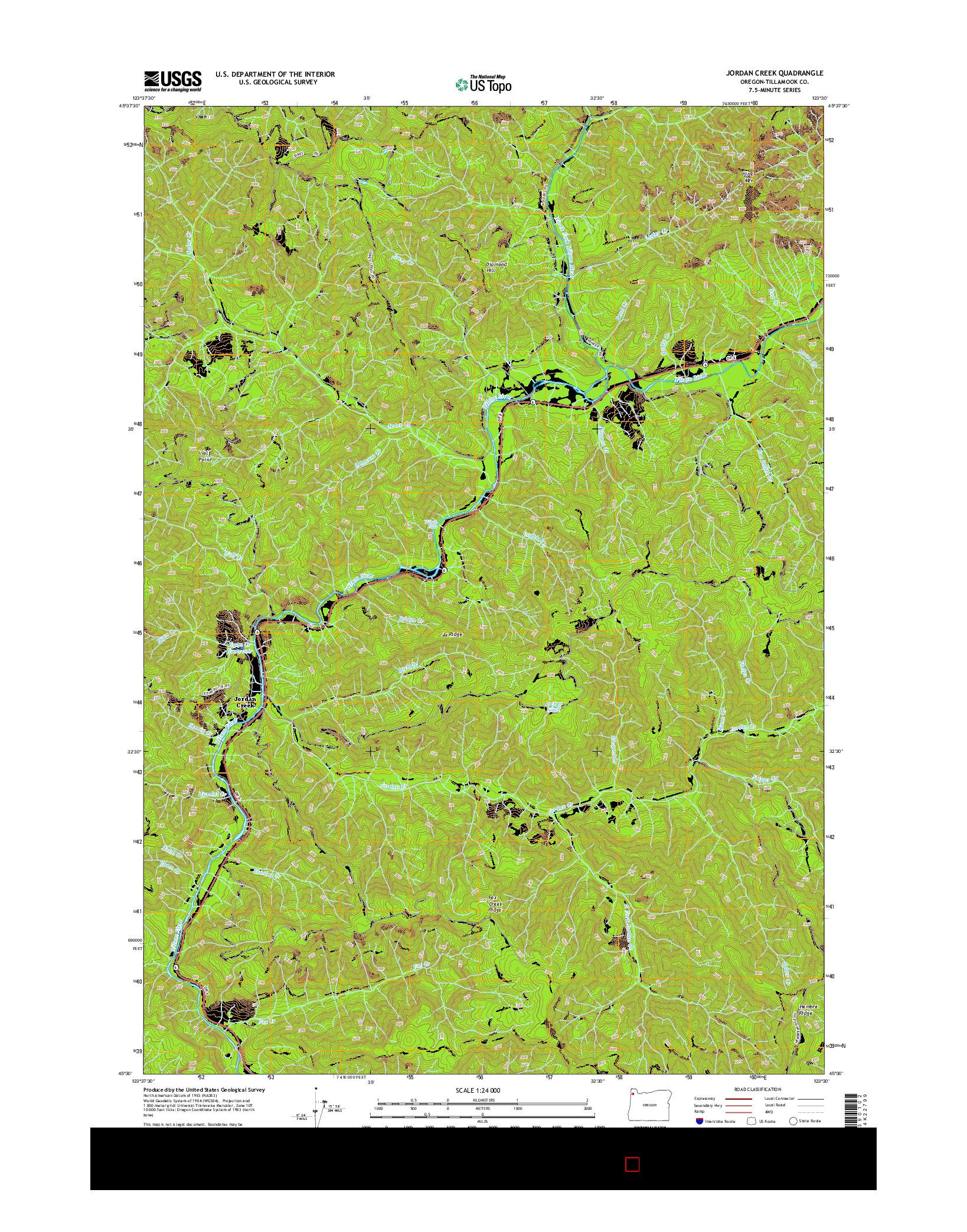 USGS US TOPO 7.5-MINUTE MAP FOR JORDAN CREEK, OR 2014