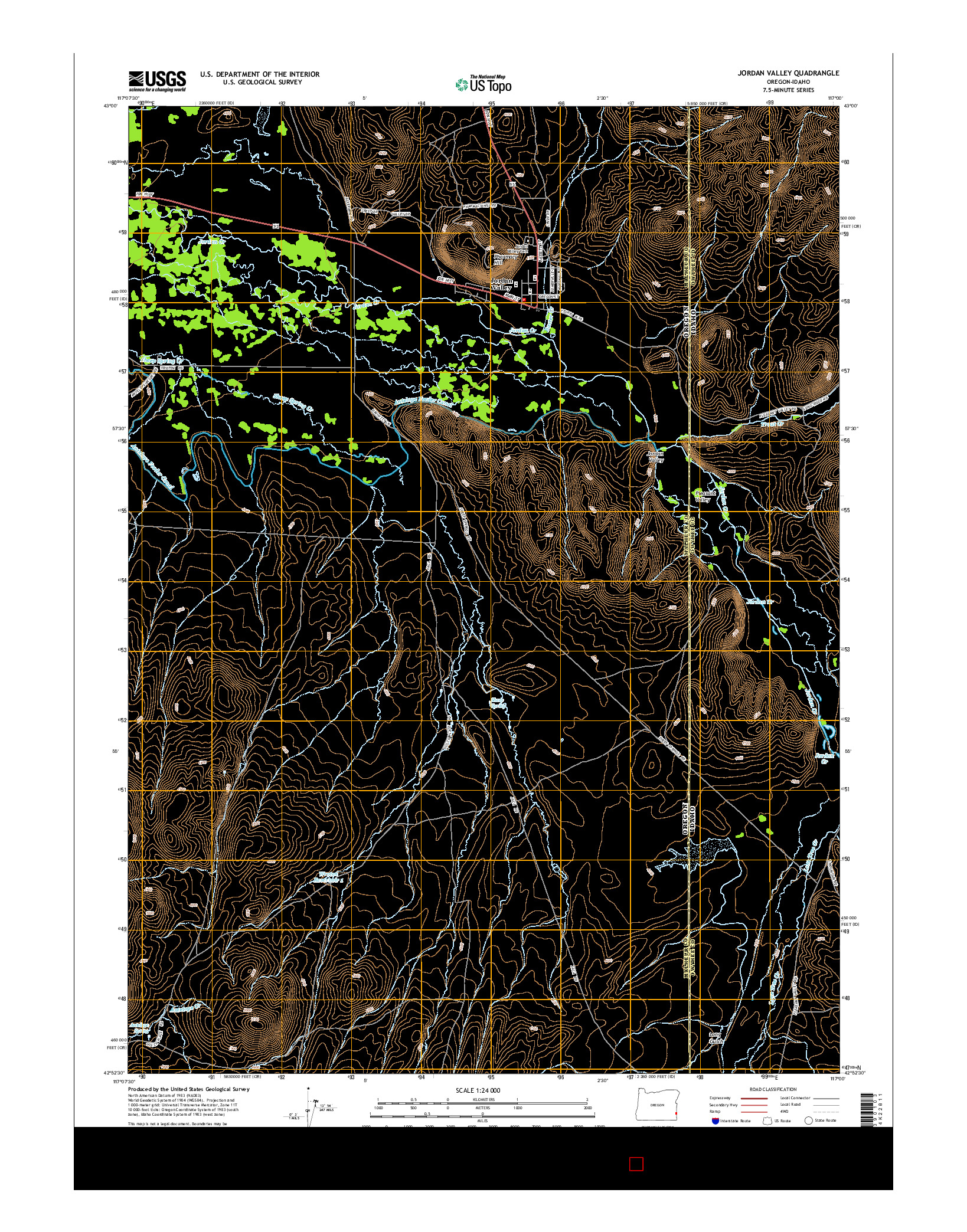 USGS US TOPO 7.5-MINUTE MAP FOR JORDAN VALLEY, OR-ID 2014