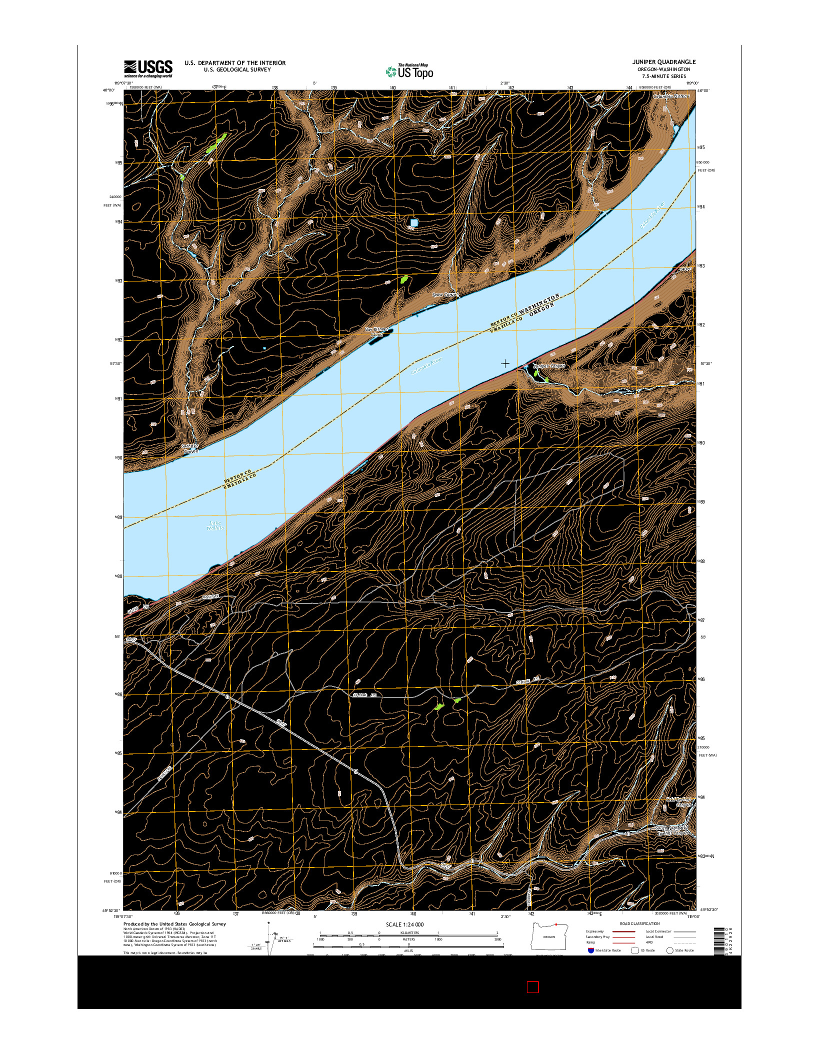 USGS US TOPO 7.5-MINUTE MAP FOR JUNIPER, OR-WA 2014
