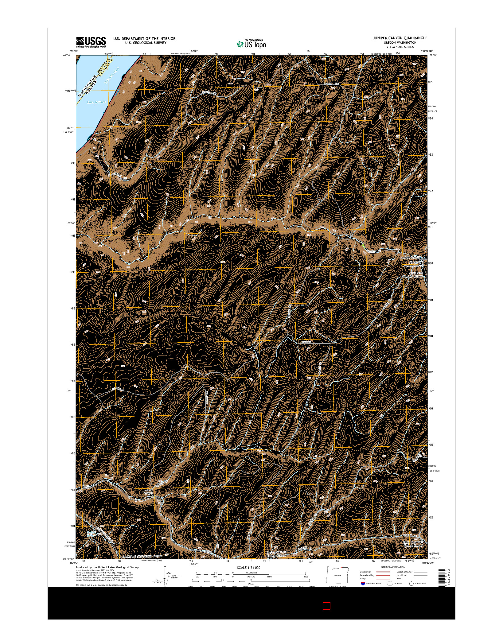 USGS US TOPO 7.5-MINUTE MAP FOR JUNIPER CANYON, OR-WA 2014