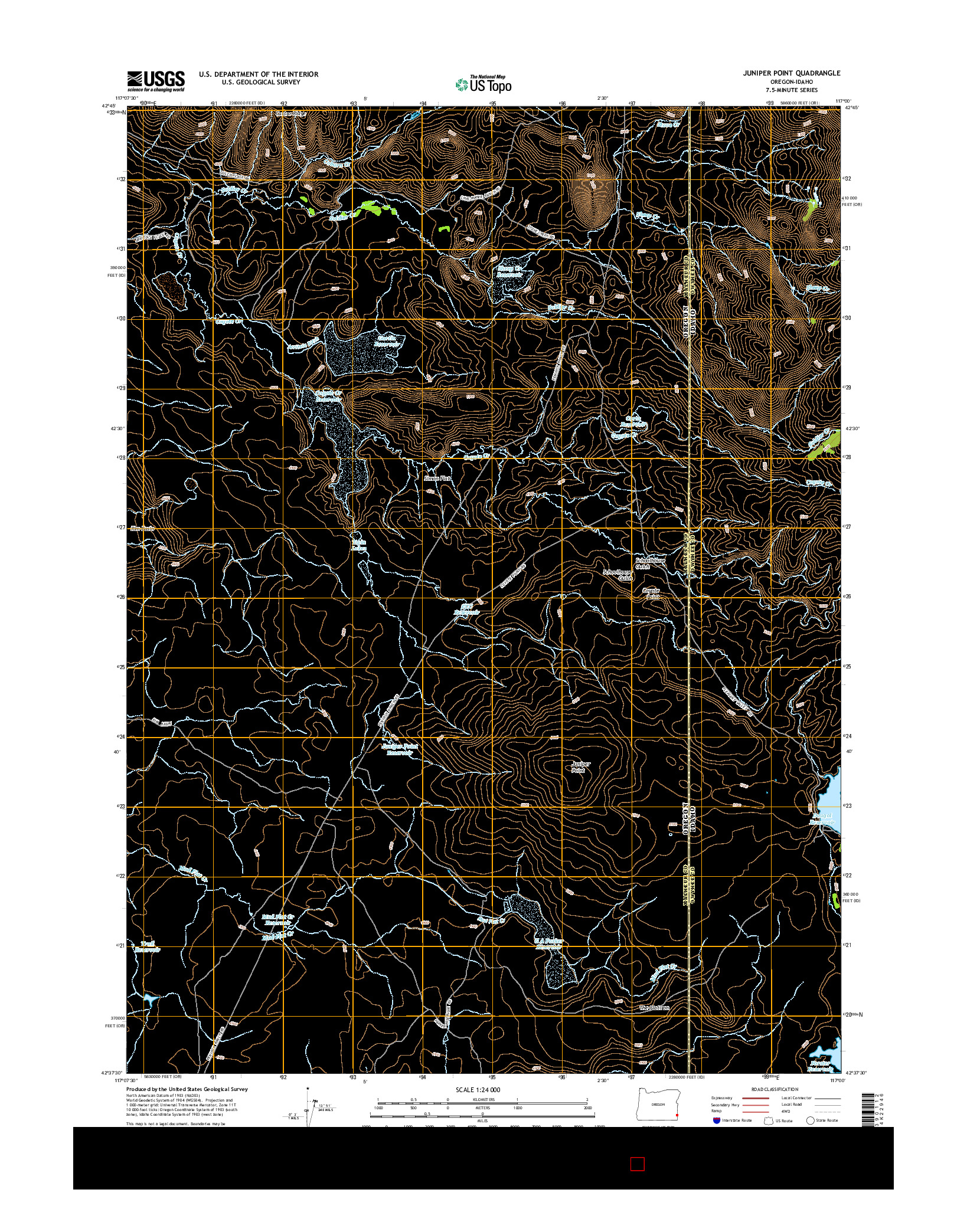 USGS US TOPO 7.5-MINUTE MAP FOR JUNIPER POINT, OR-ID 2014