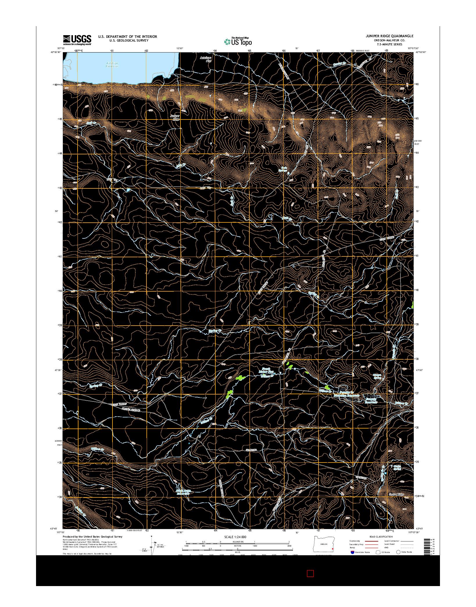 USGS US TOPO 7.5-MINUTE MAP FOR JUNIPER RIDGE, OR 2014