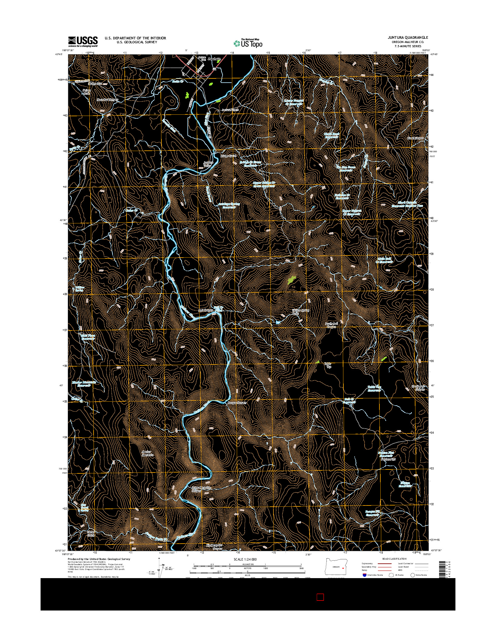 USGS US TOPO 7.5-MINUTE MAP FOR JUNTURA, OR 2014