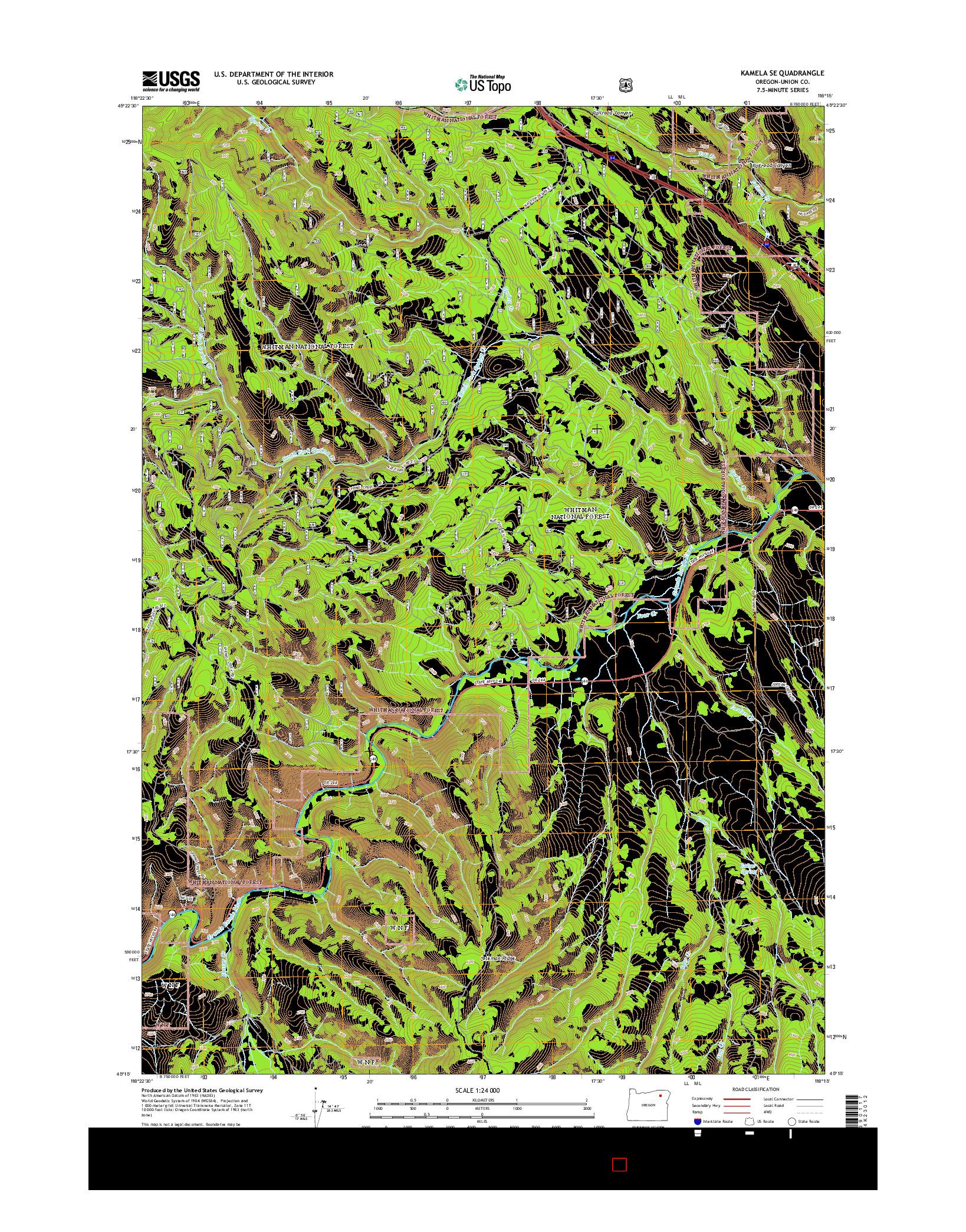 USGS US TOPO 7.5-MINUTE MAP FOR KAMELA SE, OR 2014