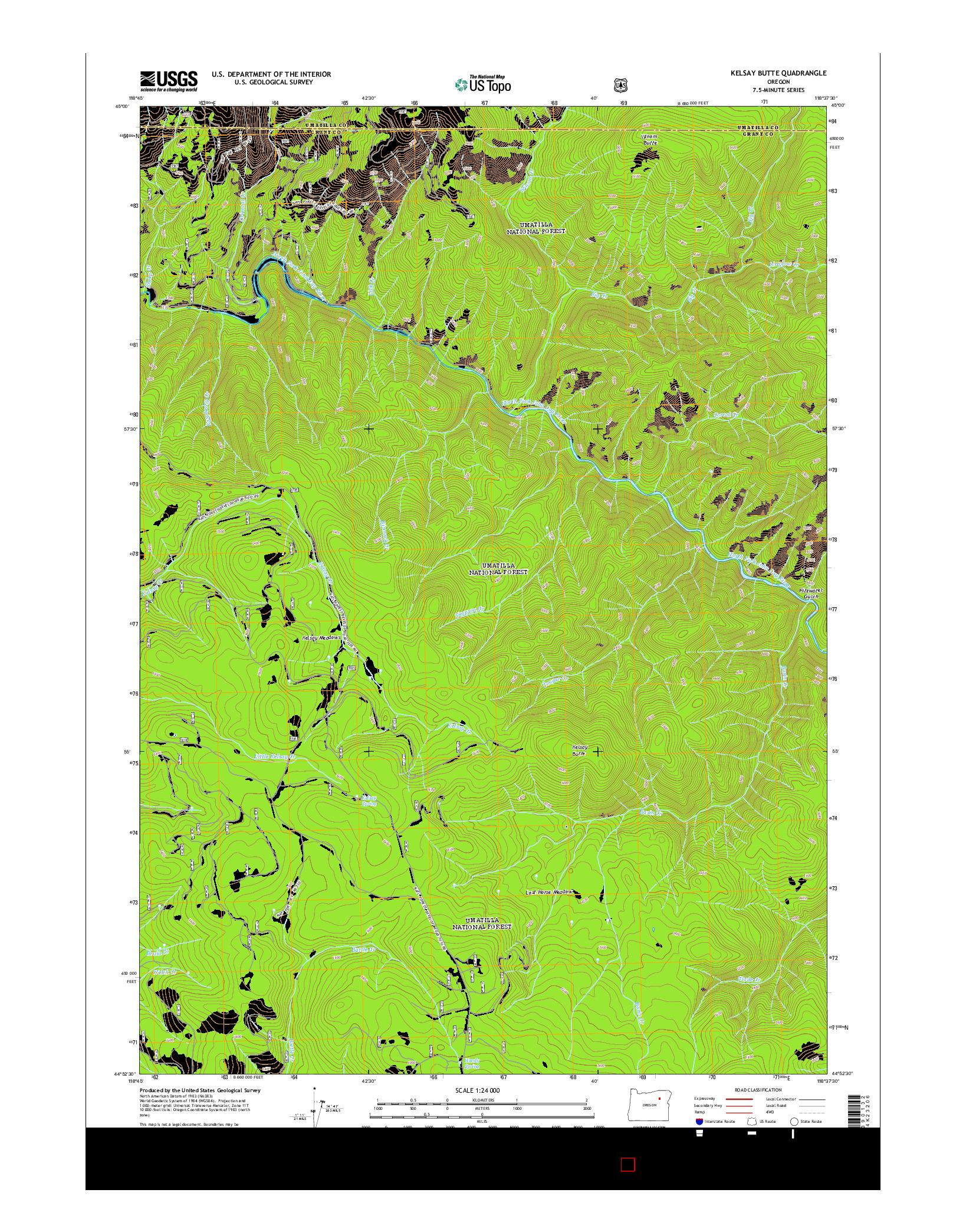 USGS US TOPO 7.5-MINUTE MAP FOR KELSAY BUTTE, OR 2014