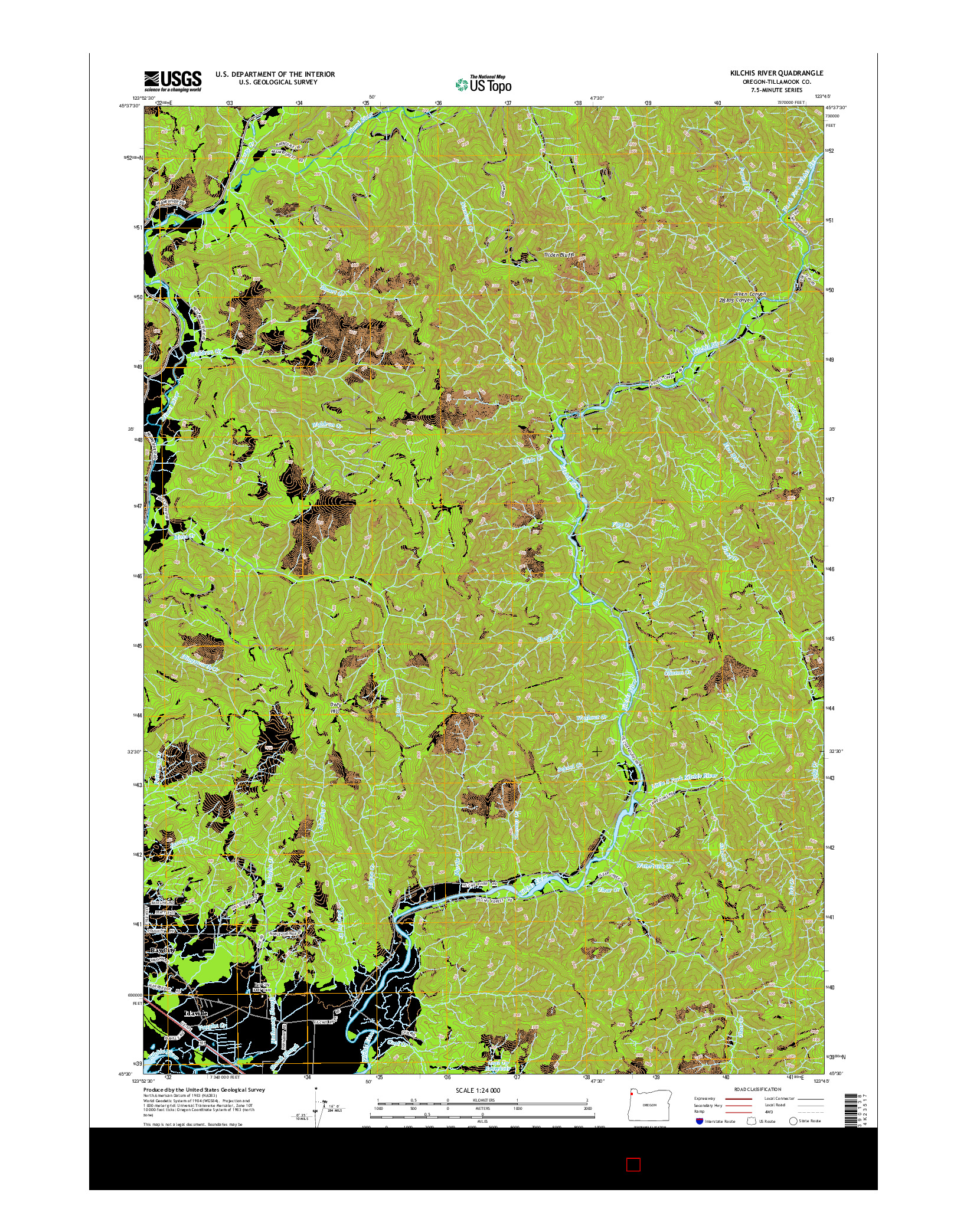 USGS US TOPO 7.5-MINUTE MAP FOR KILCHIS RIVER, OR 2014