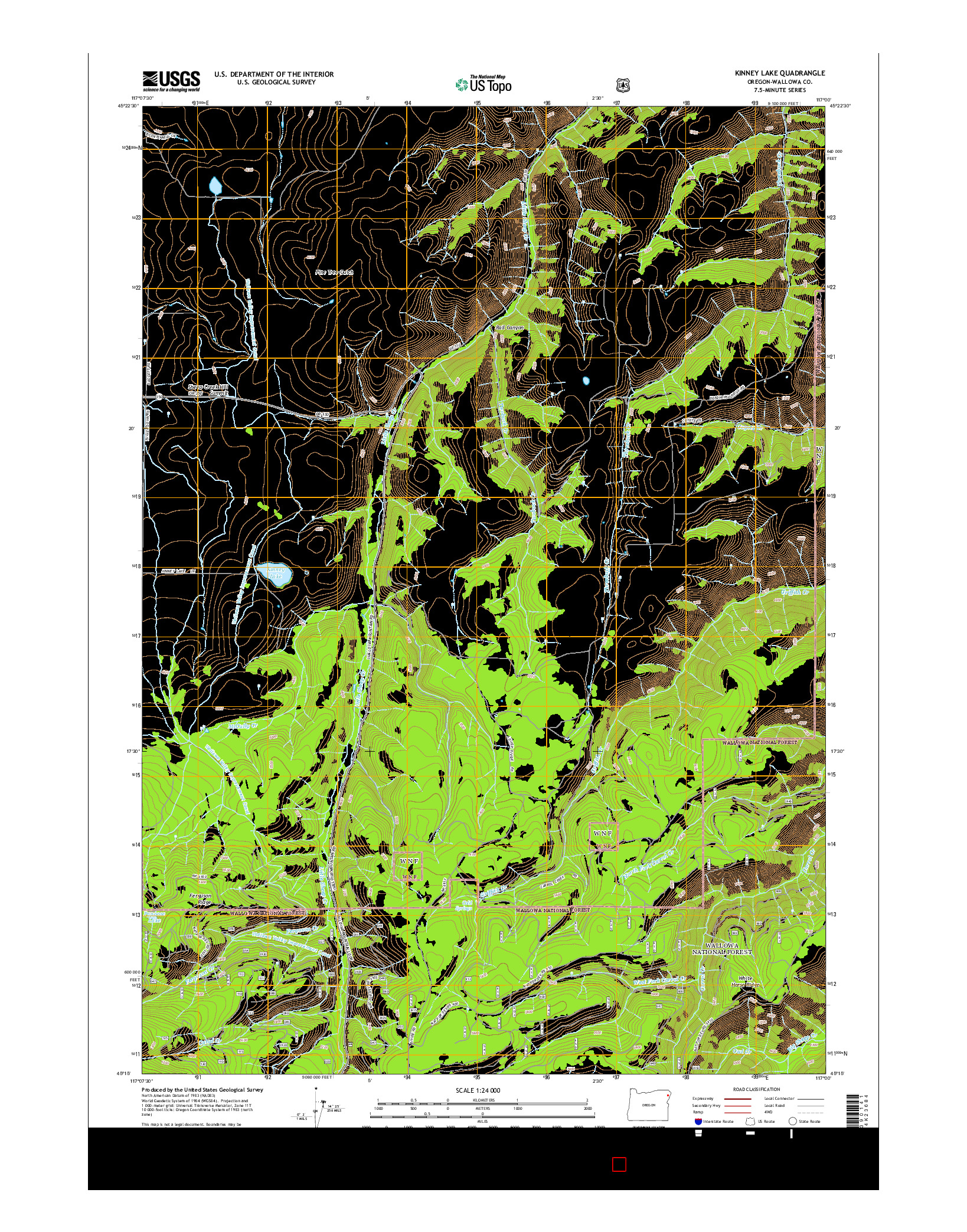 USGS US TOPO 7.5-MINUTE MAP FOR KINNEY LAKE, OR 2014