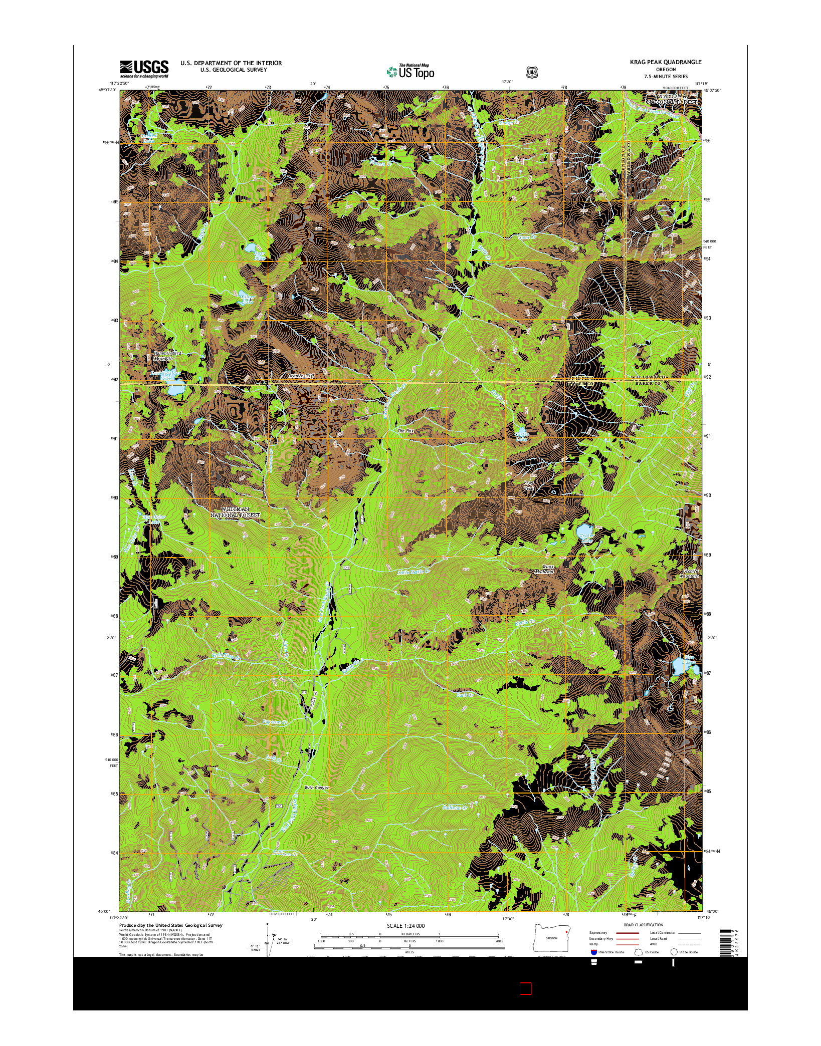 USGS US TOPO 7.5-MINUTE MAP FOR KRAG PEAK, OR 2014