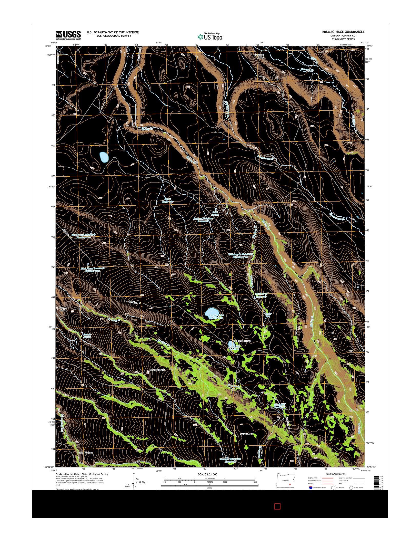 USGS US TOPO 7.5-MINUTE MAP FOR KRUMBO RIDGE, OR 2014