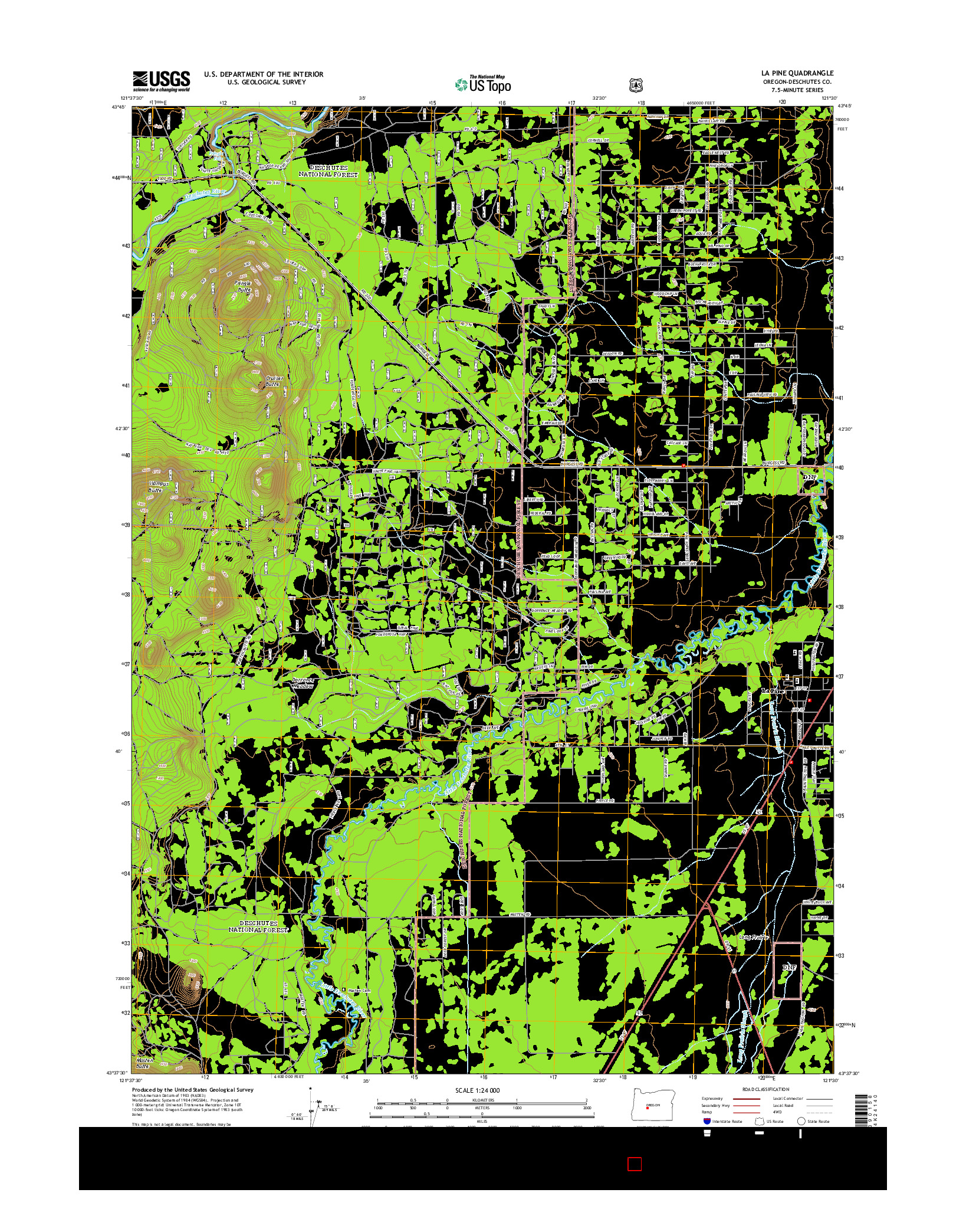 USGS US TOPO 7.5-MINUTE MAP FOR LA PINE, OR 2014