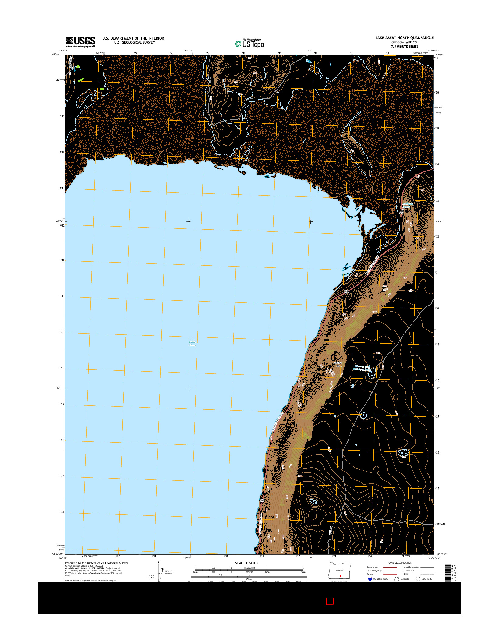 USGS US TOPO 7.5-MINUTE MAP FOR LAKE ABERT NORTH, OR 2014