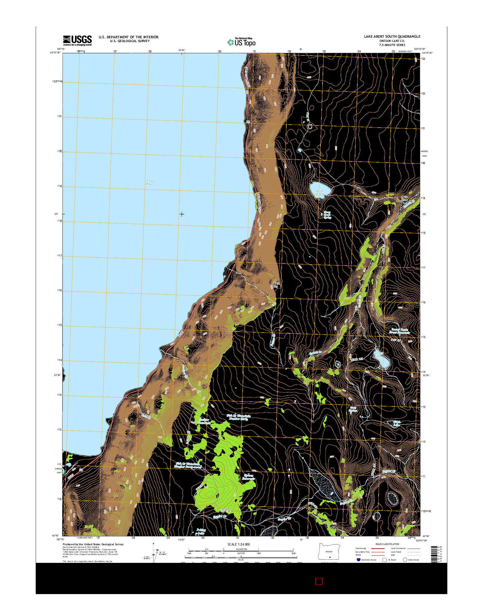 USGS US TOPO 7.5-MINUTE MAP FOR LAKE ABERT SOUTH, OR 2014
